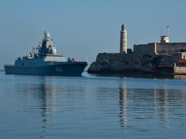 The Russian Federation Navy Admiral Gorshkov frigate arrives to Havana's port on June 24, 2019. - A Russian naval detachment, led by the frigate Admiral Gorshkov, arrived in Havana on Monday in times of high tension between the island and the United States. (Photo by ADALBERTO ROQUE / AFP) (Photo …