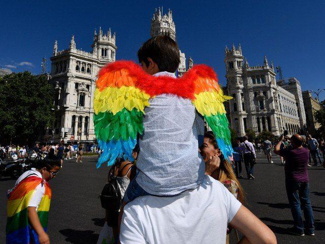A boy wearing lgbt pride wings