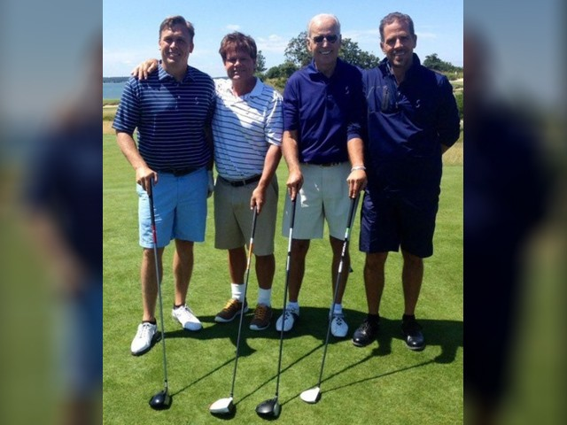 Former Vice President Joe Biden and his son Hunter golfing in the Hamptons with Devon Archer, who served on the board of the Ukrainian natural gas company Burisma Holdings with Hunter.