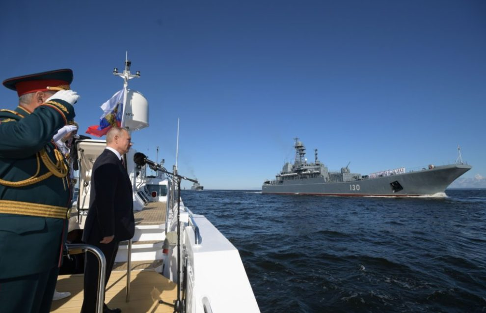 Russian President Vladimir Putin inspects warships prior to the Navy Day parade in Saint Petersburg on July 26, 2020. (ALEXEY DRUZHININ/SPUTNIK/AFP via Getty Images)