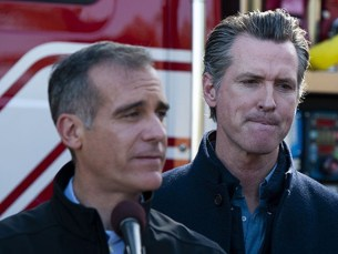 Los Angeles Mayor Eric Garcetti, center left, speaks at a joint press conference with California Governor Gavin Newsom, right, and local officials, for an update on the Getty Fire, Tuesday, Oct. 29, 2019, in Los Angeles. Authorities are concerned about the possibility that predicted strong winds overnight could pick up …