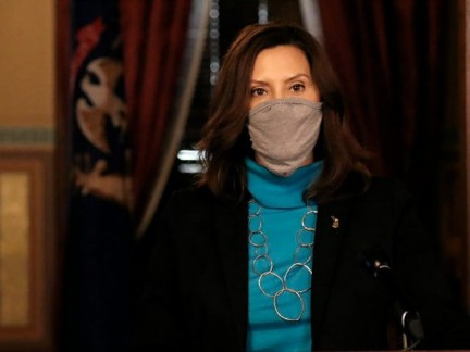 In a photo provided by the Michigan Office of the Governor, Gov. Gretchen Whitmer addresses the state during a speech in Lansing, Mich., Thursday, Nov. 12, 2020. Hospital leaders warned Thursday that more than 3,000 people are hospitalized with the coronavirus in Michigan, a rate that is doubling every two …