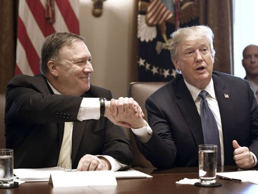 US Secretary of State Mike Pompeo shakes hands with US President Donald Trump during a cabinet meeting in the Cabinet Room of the White House, in Washington, DC, on June 21, 2018. (Photo by Olivier Douliery / AFP) (Photo credit should read OLIVIER DOULIERY/AFP via Getty Images)