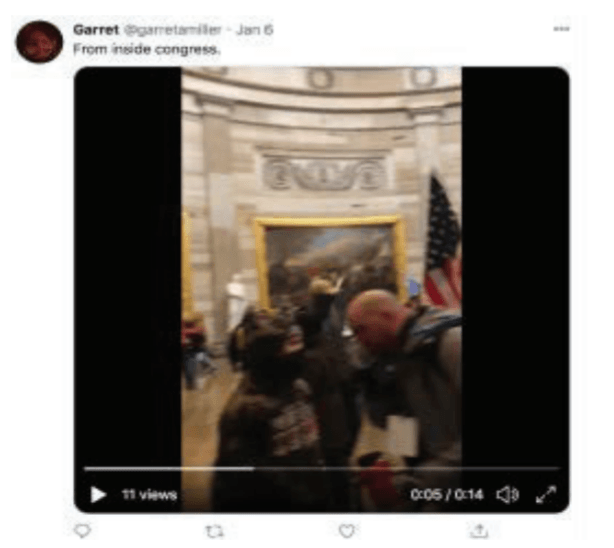 "Garret Miller's alleged tweet of a video ""From inside congress"" -- Source: U.S. Department of Justice"