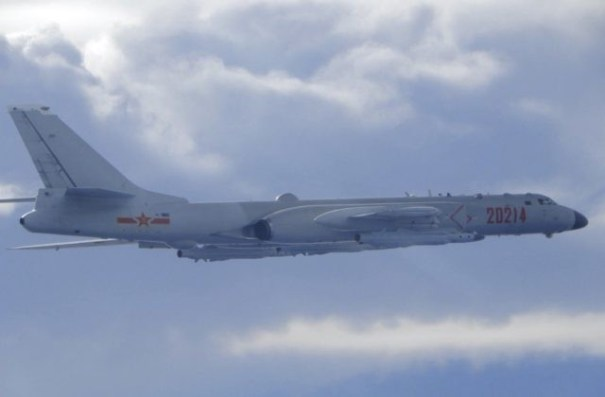 In this photo released by the Taiwan Ministry of National Defense, a Chinese People's Liberation Army H-6 bomber is seen flying near the Taiwan air defense identification zone, ADIZ, near Taiwan on Friday, Sept. 18, 2020. The second high-level U.S. envoy to visit Taiwan in two months began a day …