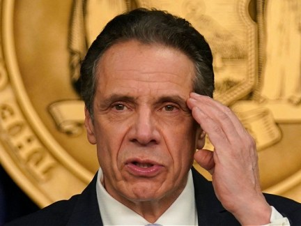 New York Governor Andrew Cuomo speaks at an event at his office in New York, on March 18, 2021. - Cuomo spoke about the return of spectators to performing arts and sporting events, including a limited amount of fans attending baseball games at the start of the season as the …