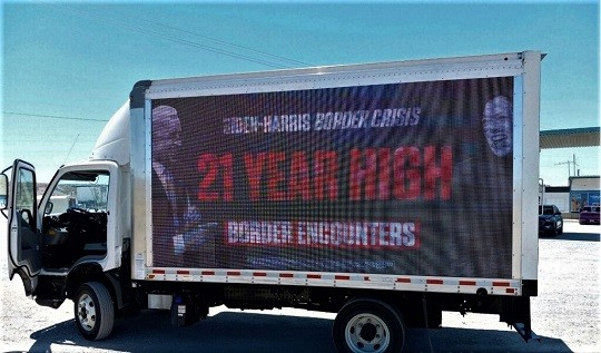 Mobile billboard from the Republican Party highlighted the failures of the Biden-Harris border crisis. (Photo: Republican National Committee)