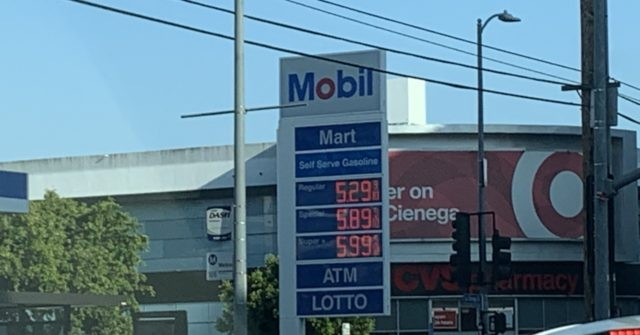 , PHOTO: Gas Prices Near $6 per Gallon in Los Angeles, California, Nzuchi Times Breitbart