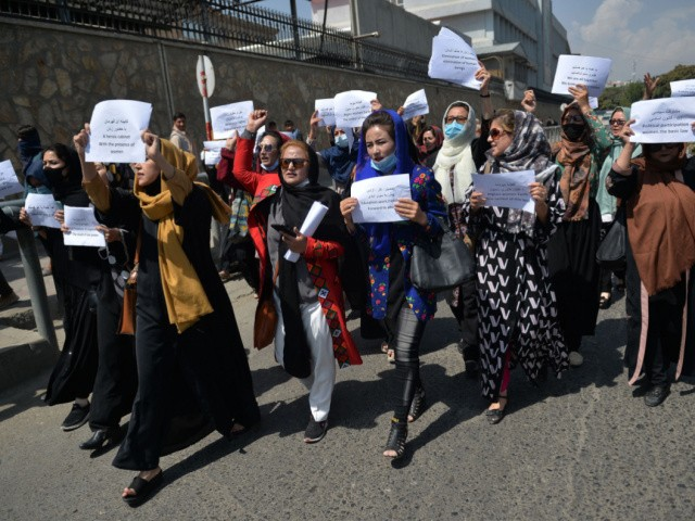 TOPSHOT - Afghan women take part in a protest march for their rights under the Taliban rule in the downtown area of Kabul on September 3, 2021. (Photo by HOSHANG HASHIMI / AFP) (Photo by HOSHANG HASHIMI/AFP via Getty Images)