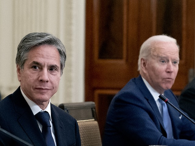 U.S. President Joe Biden and Secretary of State Antony Blinken participate in a meeting with President Moon Jae-in of the Republic of Korea in the State Dining Room of the White House on May 21, 2021. (Stefani Reynolds-Pool/Getty Images)