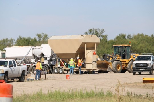 Construction crews ready a temporary concrete factory near border. (Photo: Randy Clark/Breitbart Texas)