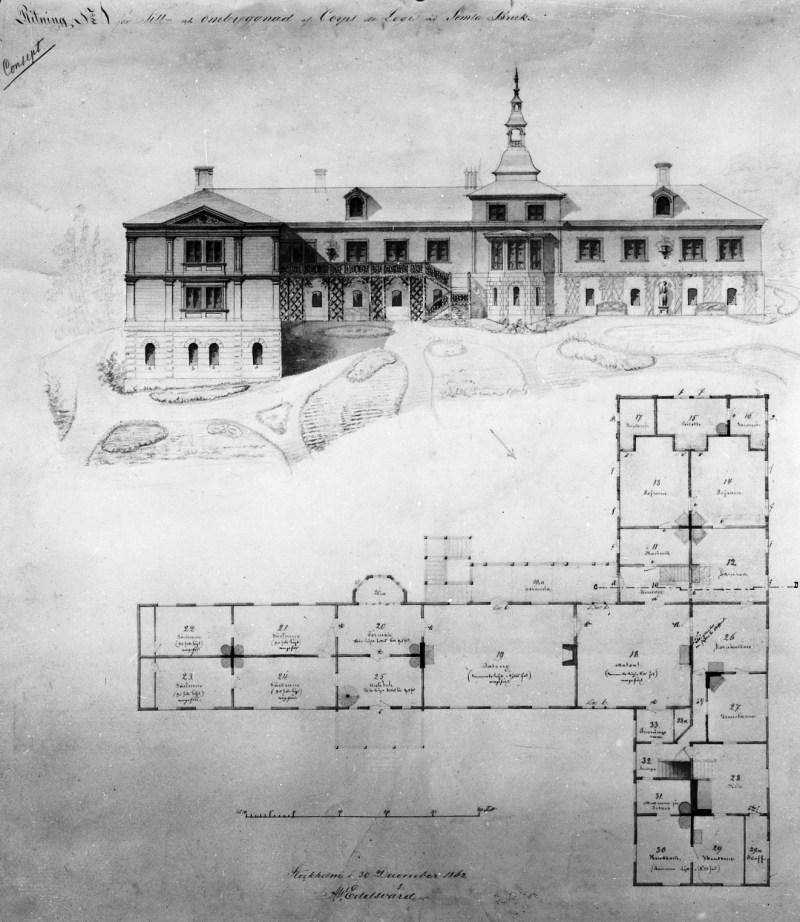 Förslag på tillbyggnad. Ritning nr 1, av A.W. Edelsvärd, Stockholm 30 dec. 1862. Den övre delen till höger på planritningen utfördes byggdes ej.