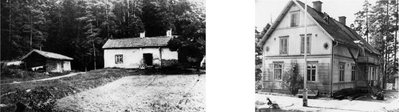 Fälleberg till vänster, revs när Fagersta stenskola byggdes 1909. foto 1903. Tallebo till höger, revs 1947