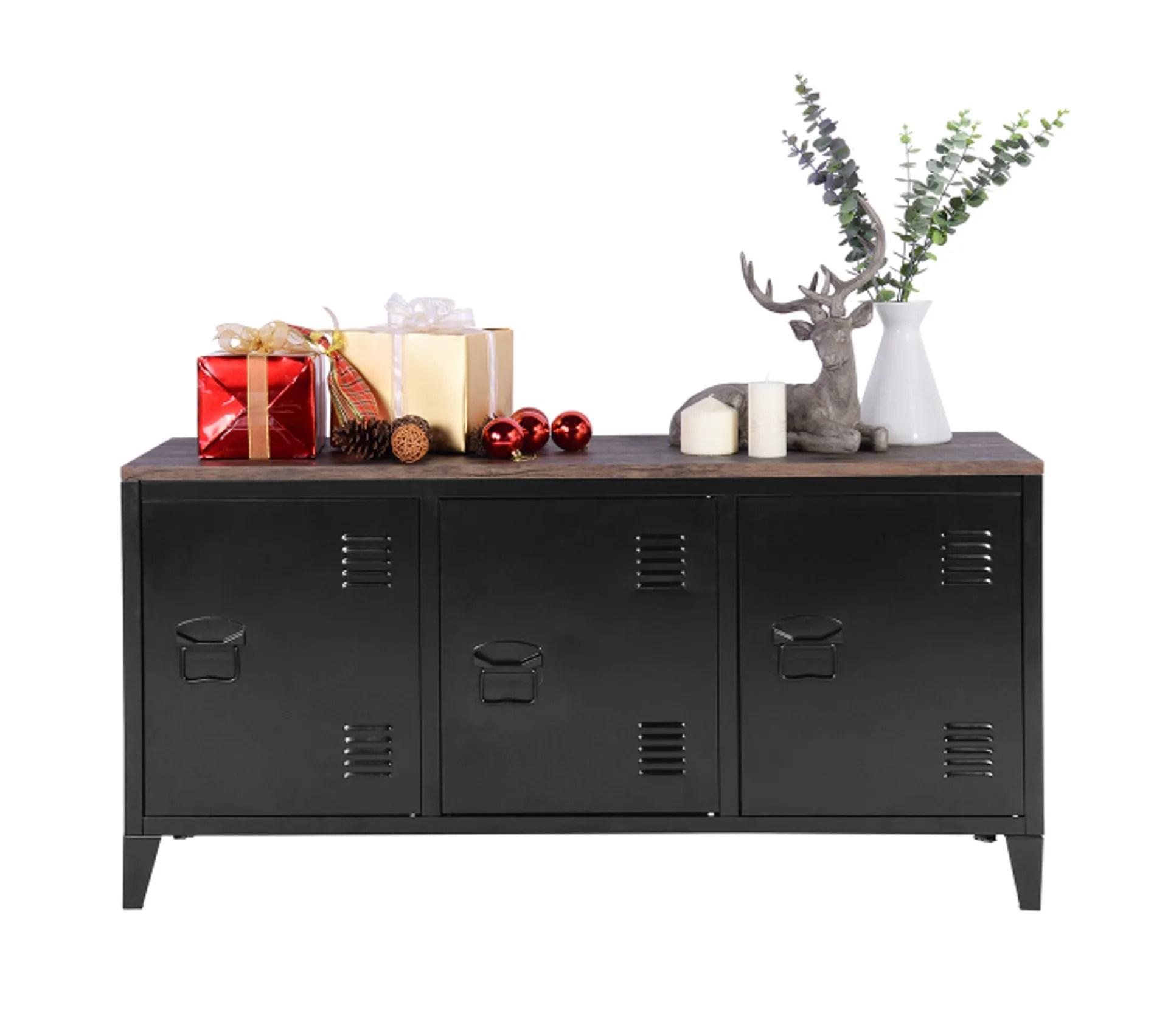 meuble tv bois et metal 3 portes style industriel noir