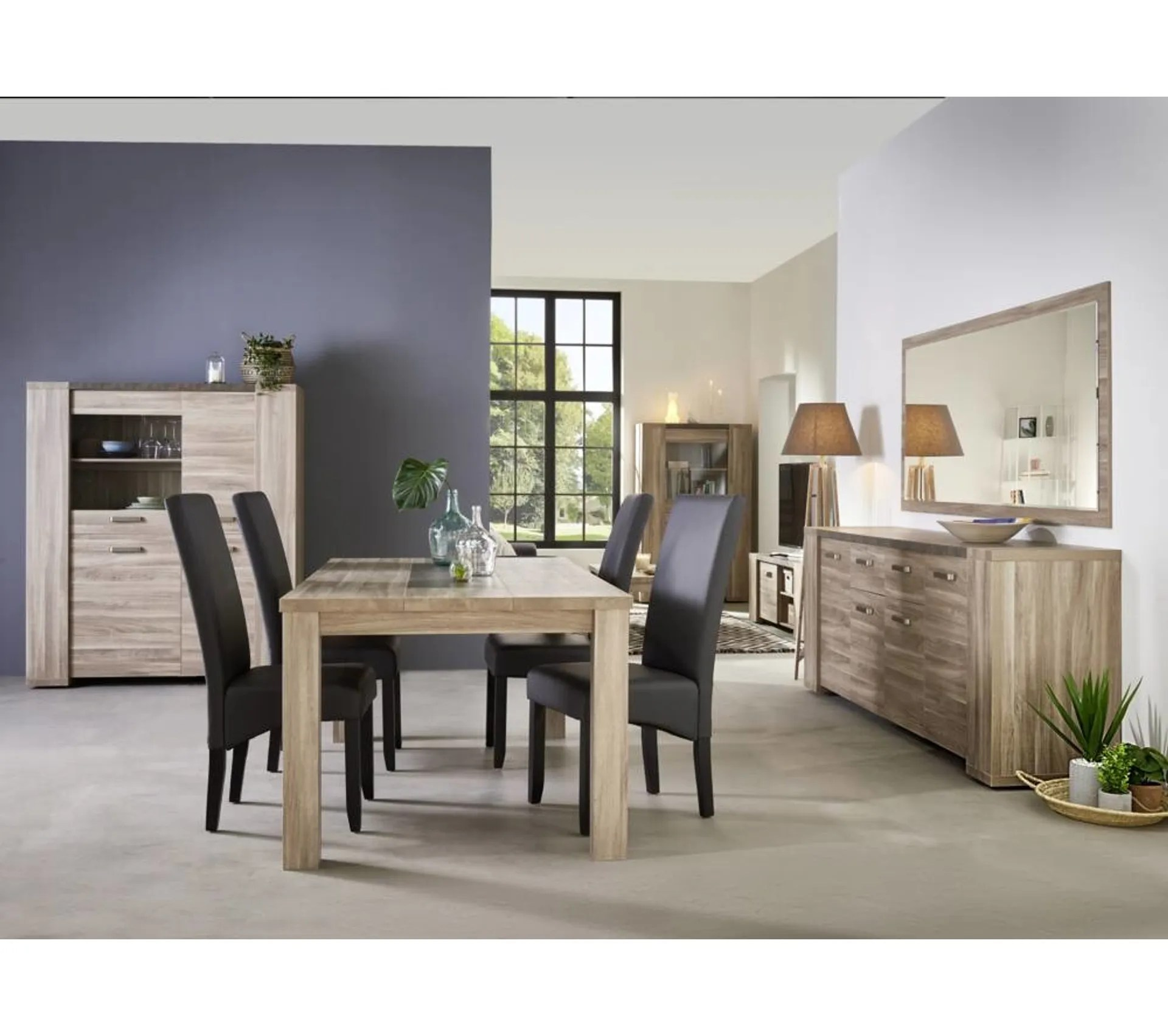 table l 190 rectangulaire stone chene gris