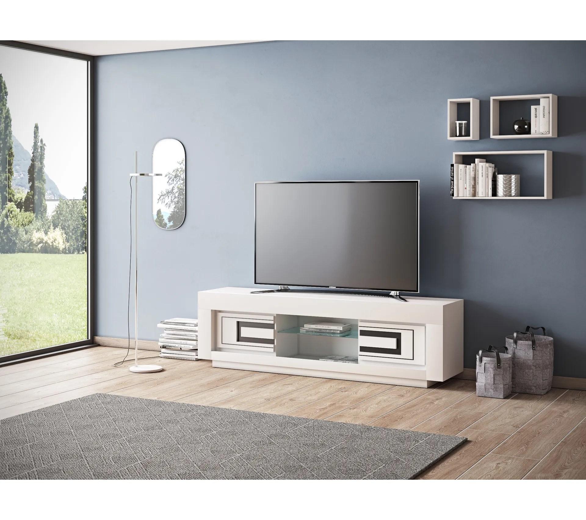 meuble tv l 150 cm riva 2 blanc noir