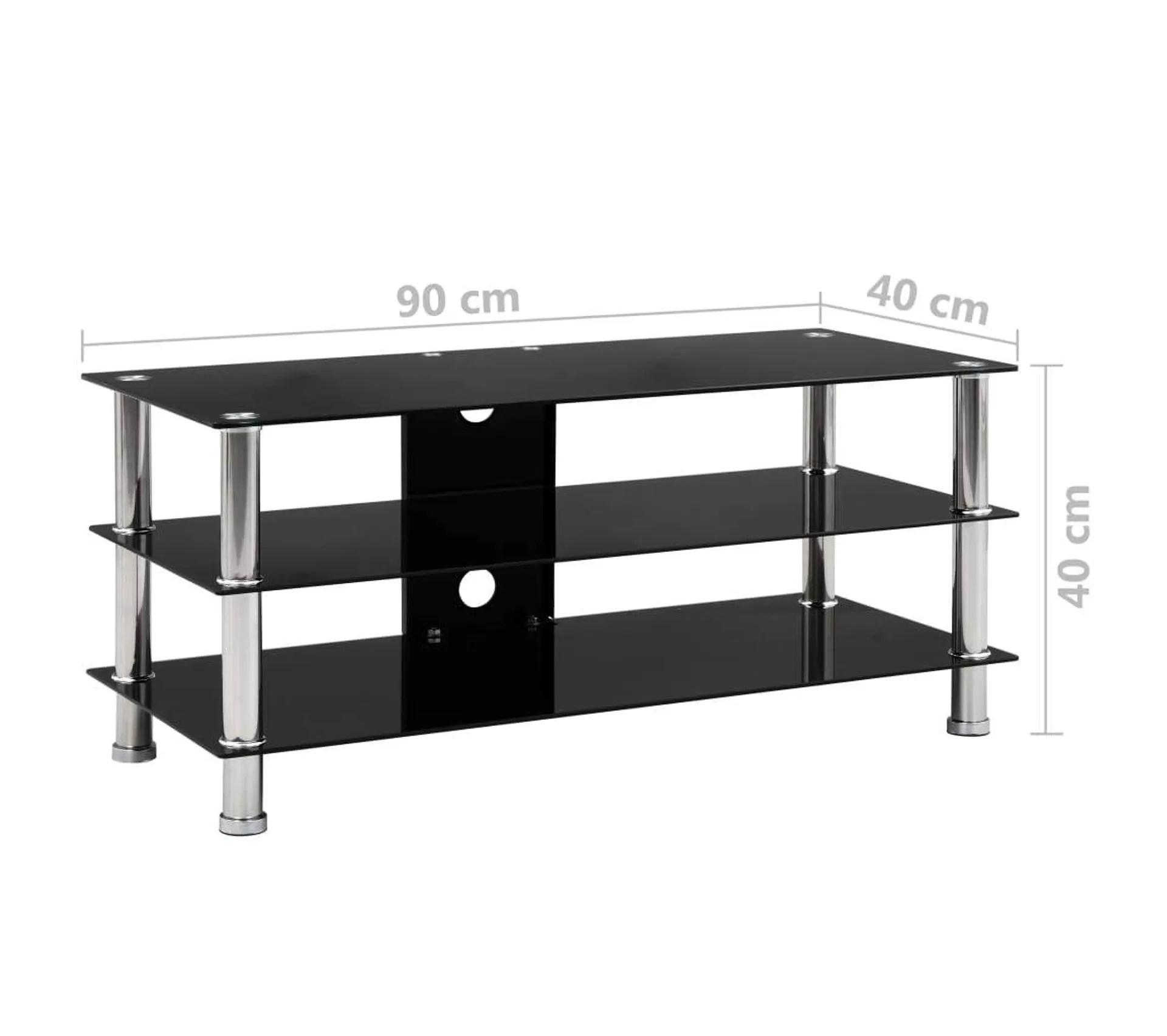meuble tele buffet tv television design pratique noir 90 cm verre trempe 2502209