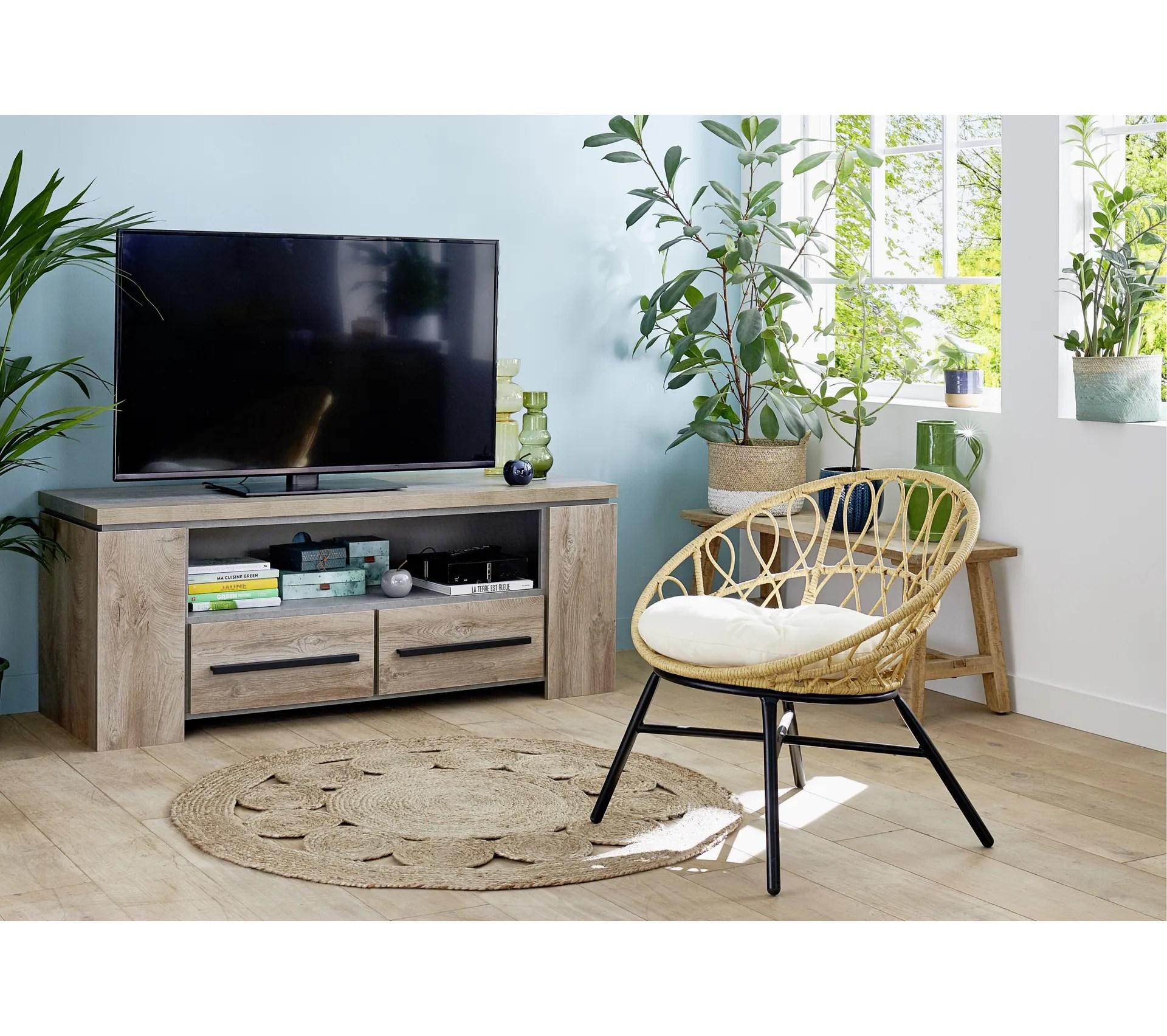 meuble tv 2 tiroirs norton imitation bois et beton