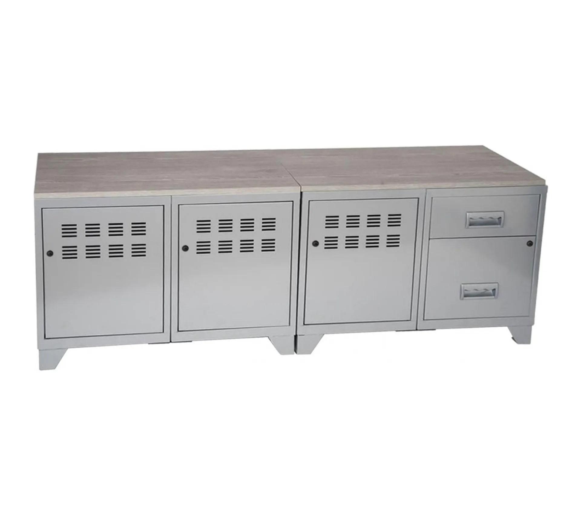 meuble tv bois metal industriel alu