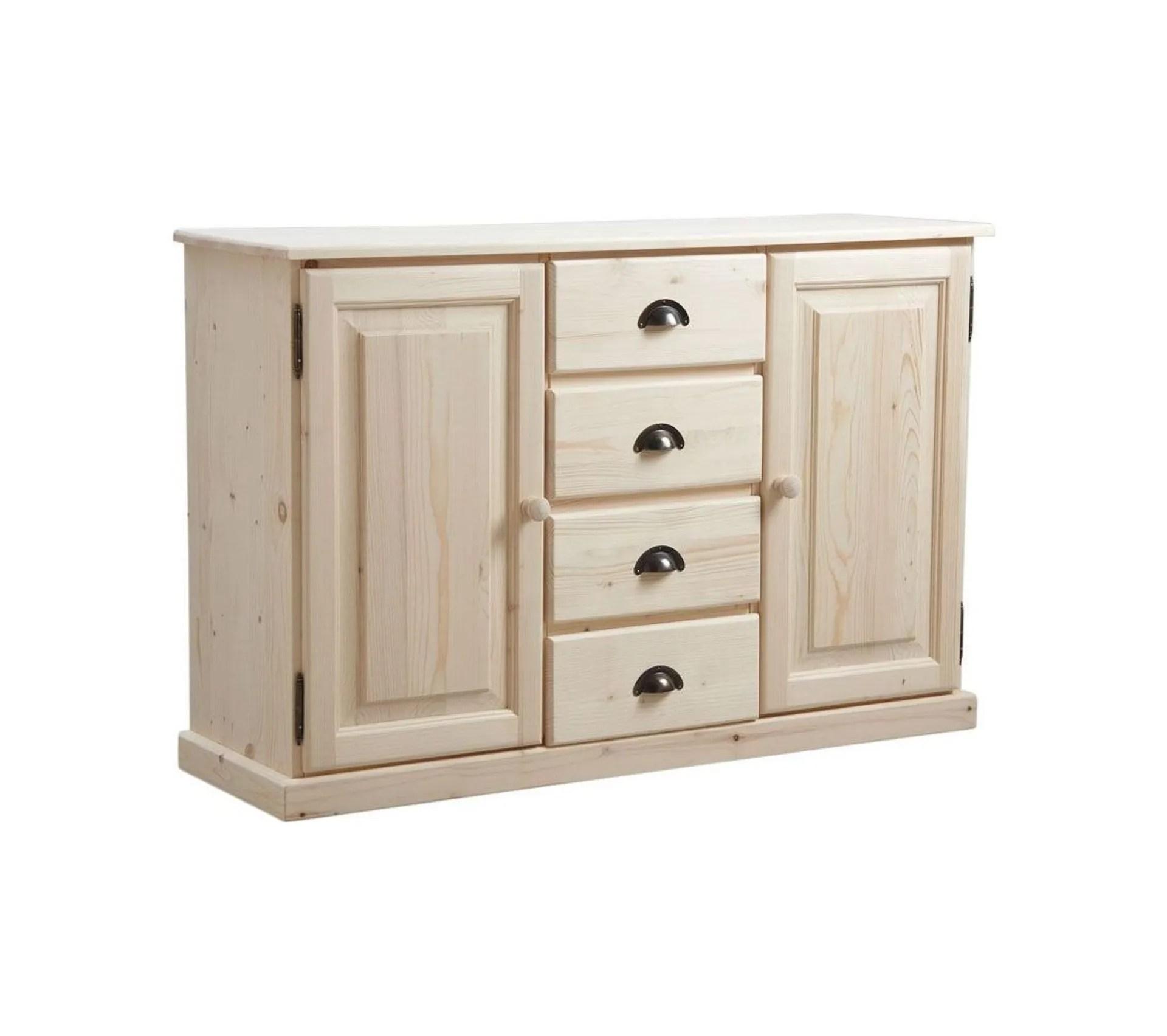 meuble bois brut 2 portes 4 tiroirs