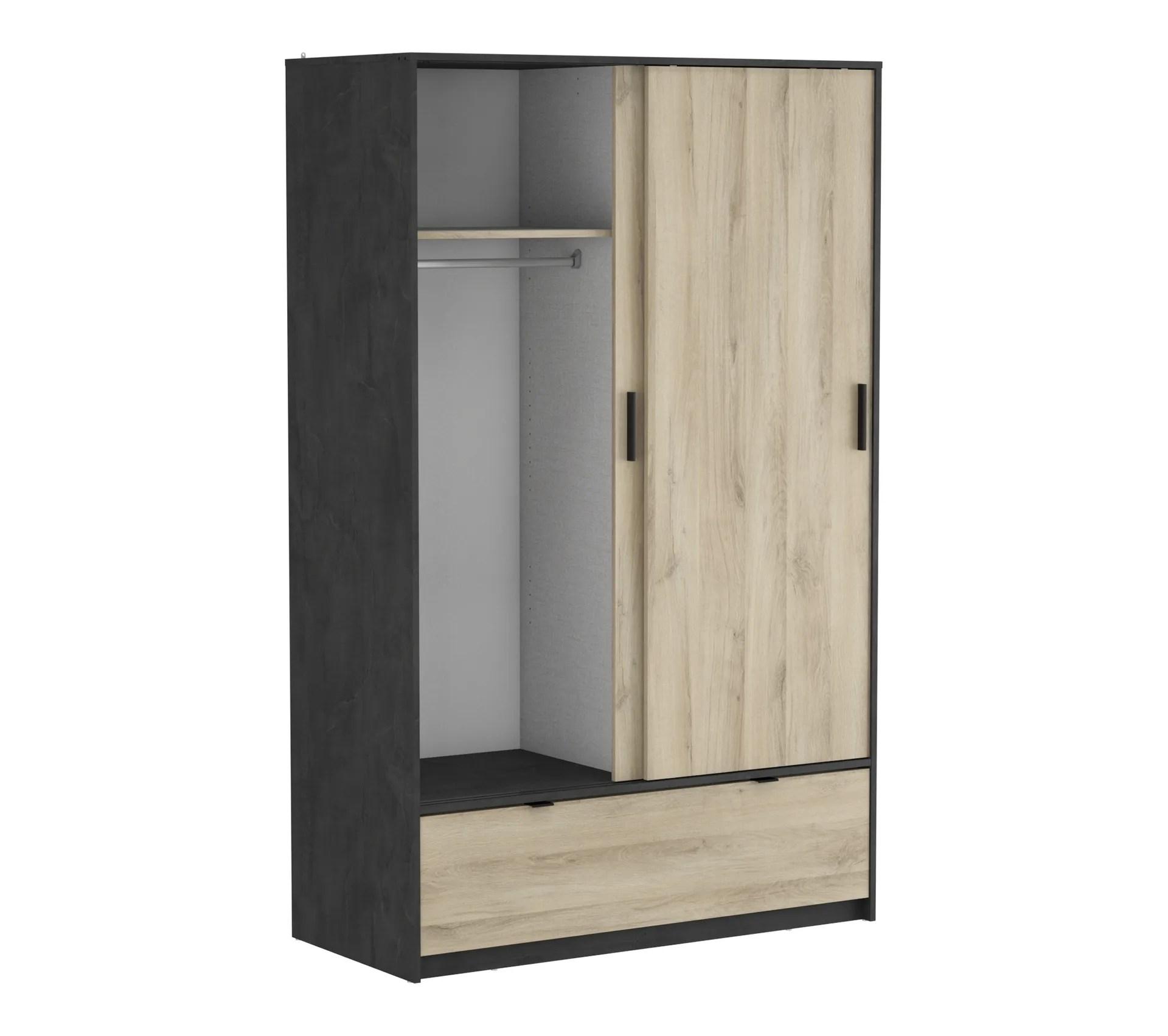 armoire 2 portes coulissantes 1 tiroir l 120 cm imitation chene et ardoise perfect