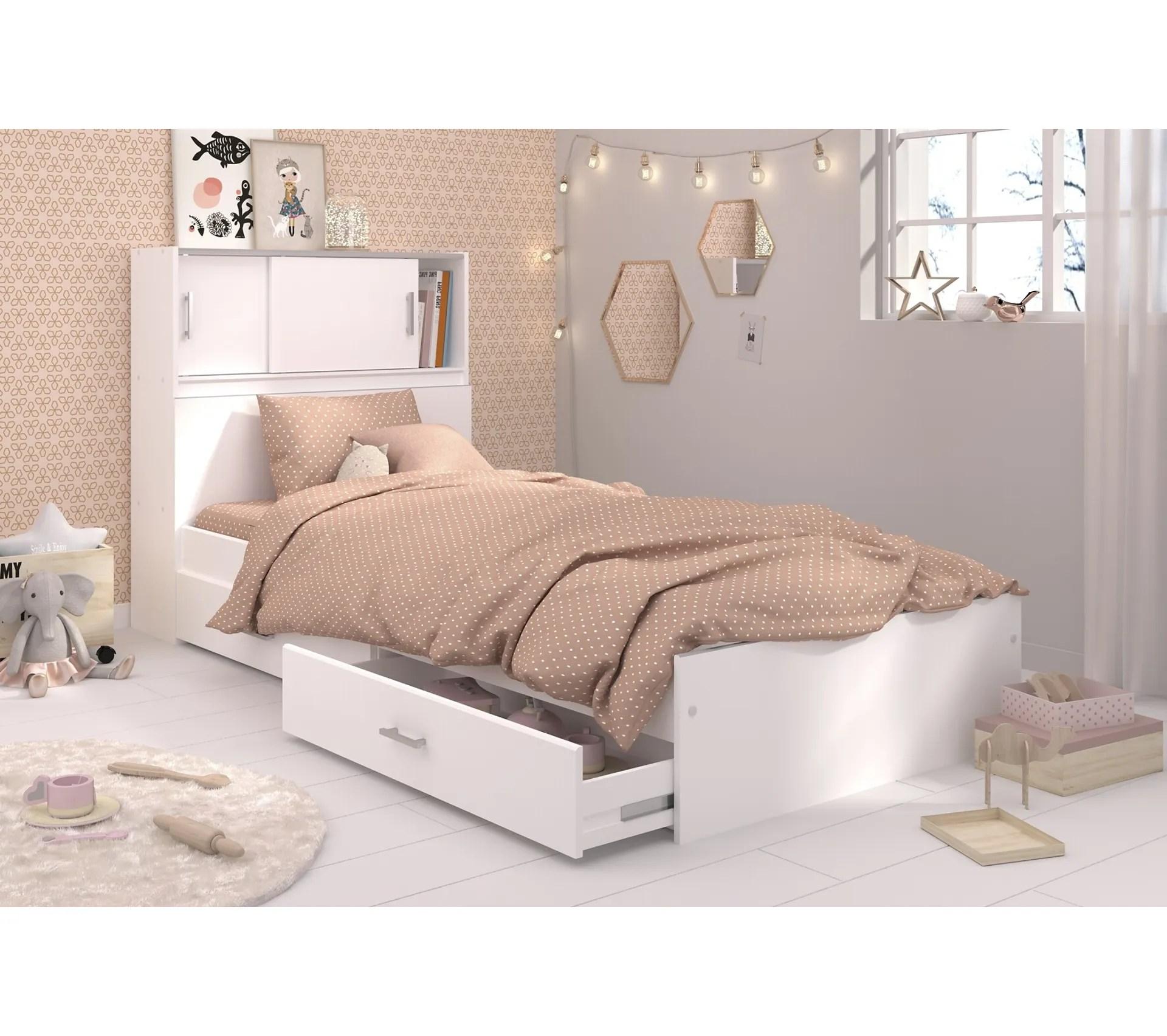 lit blanc avec rangements snoop 90x190 ou 90x200 cm