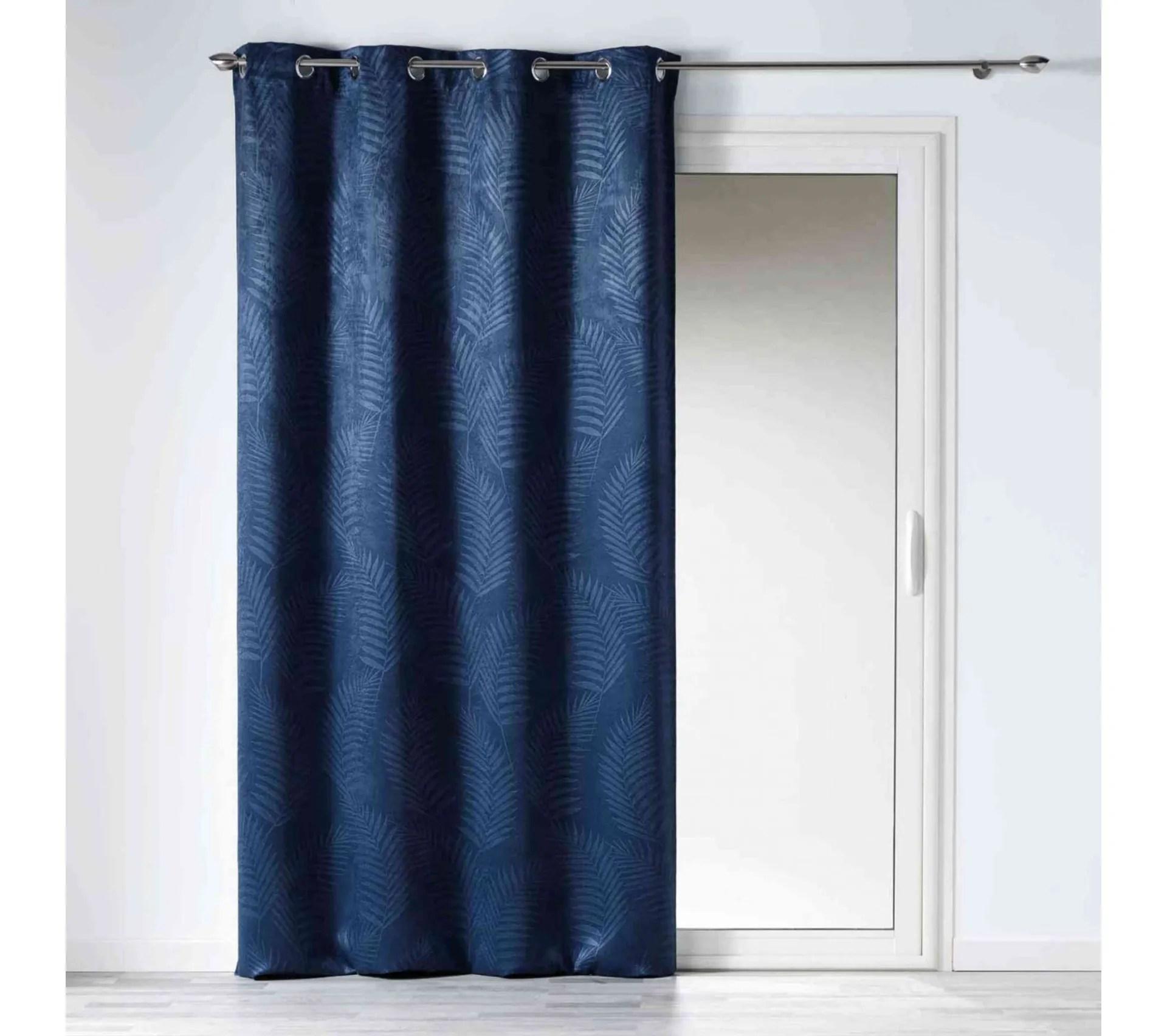 rideau occultant velours tropicaline bleu indigo 140x240 cm