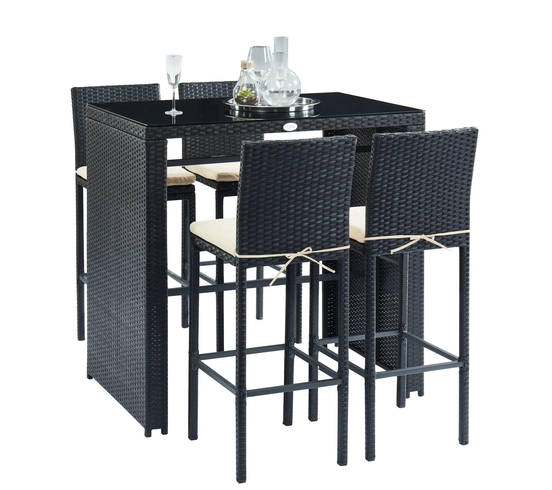 salon de jardin en resine tressee noire kea avec table haute et 4 chaises de bar
