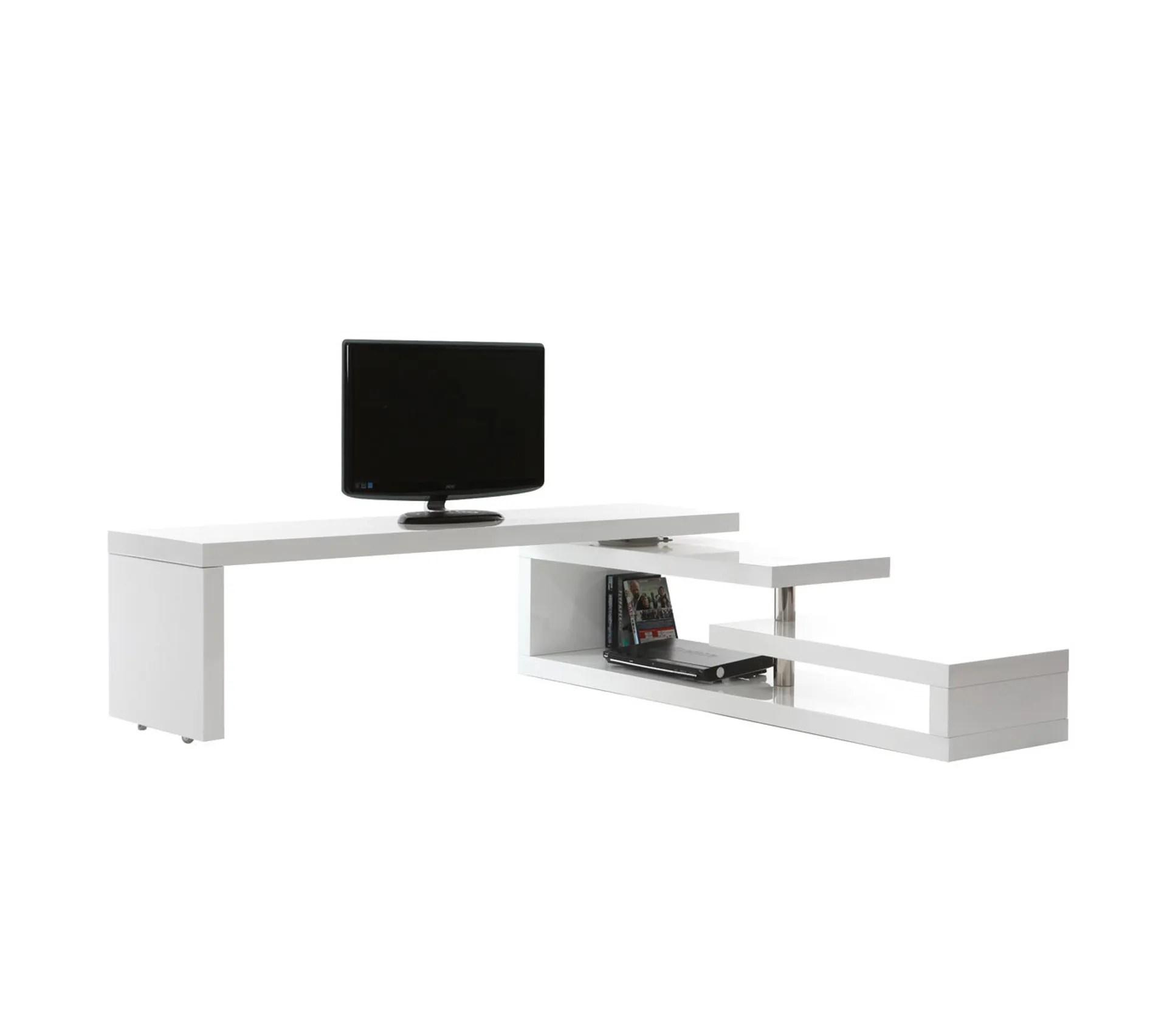 meuble tv design laque brillant blanc pivotant max v2