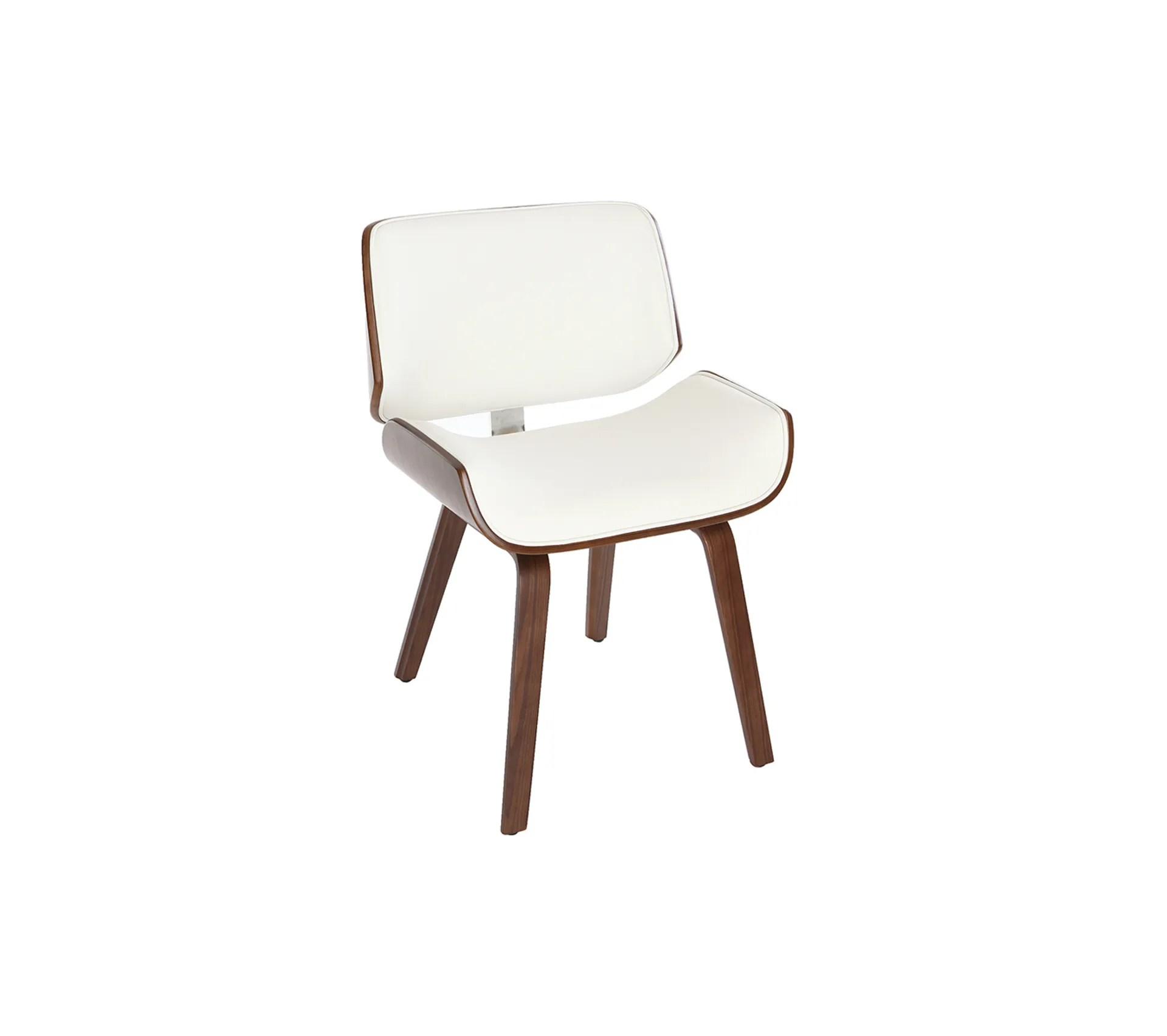 chaise design blanc et bois fonce noyer rubbens