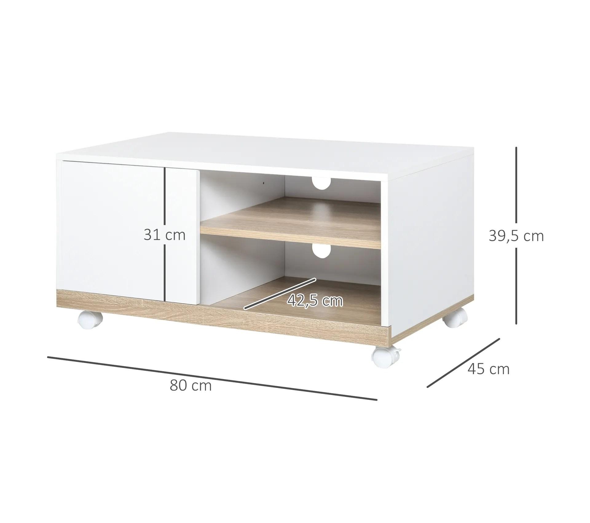 meuble tv sur roulettes 2 niches placard porte 2 passe fil blanc chene clair