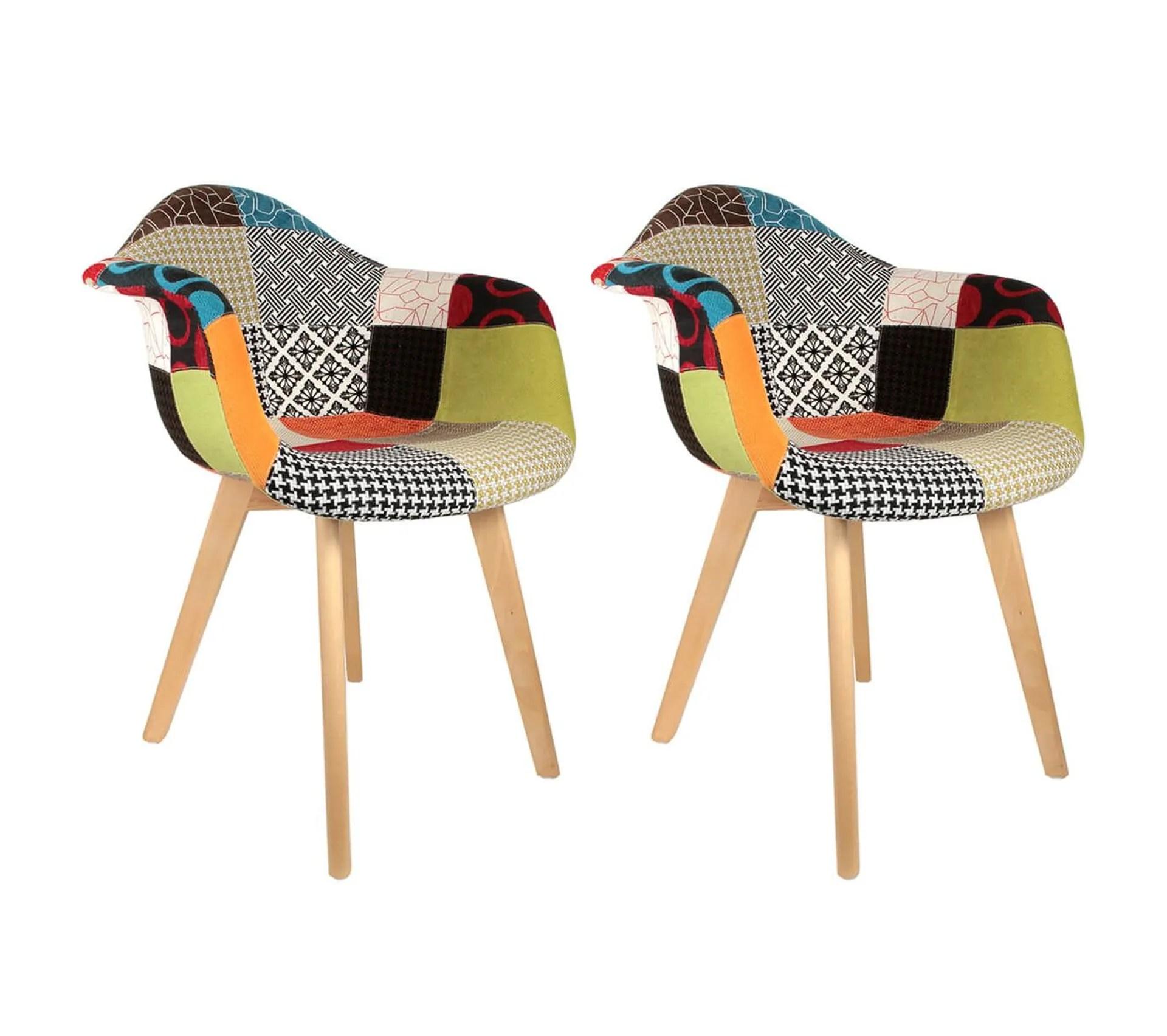 lot de 2 fauteuils scandinaves multicolore patchwork