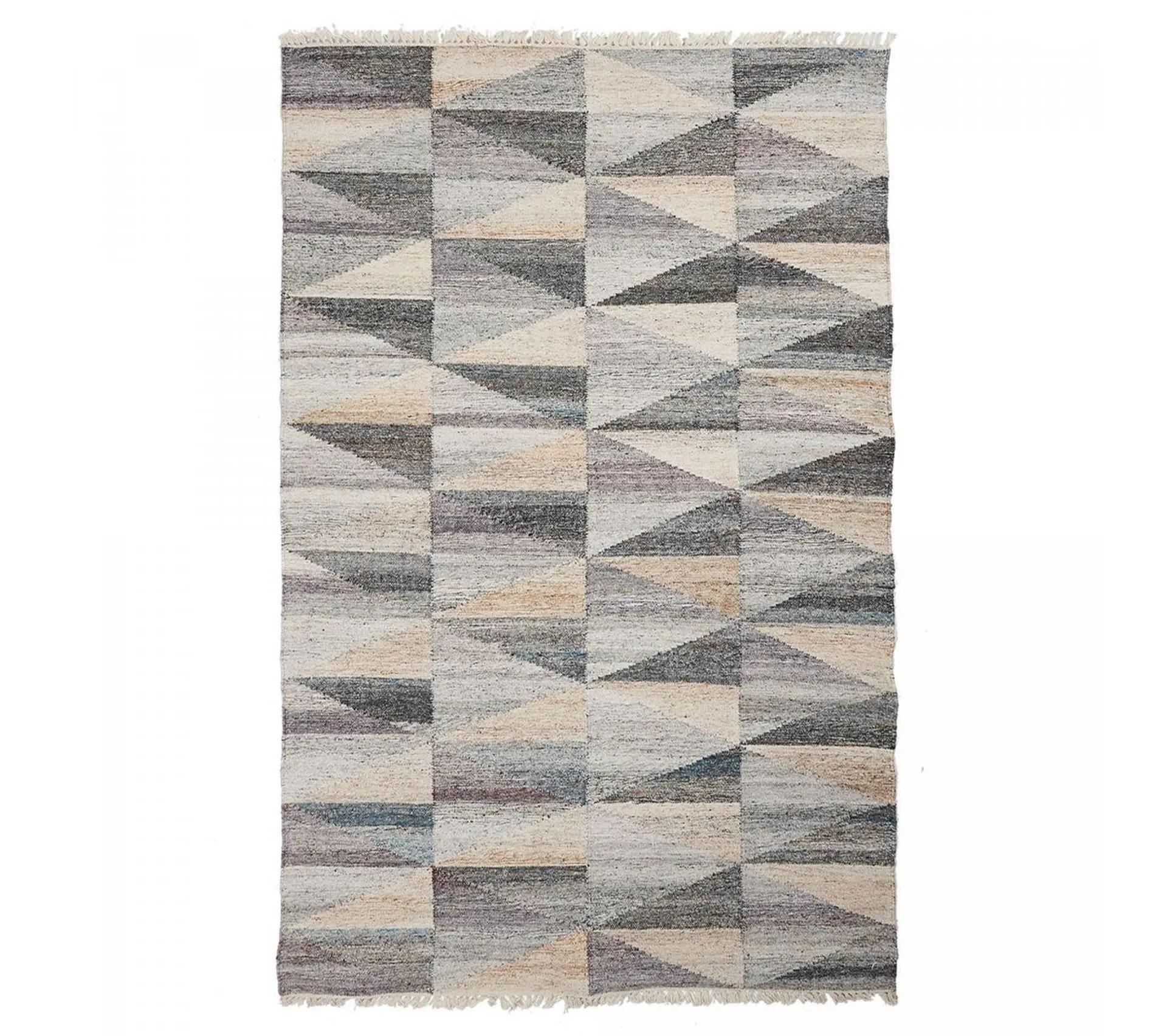 160x230 tapis design et moderne rectangulaire triangle beige noir bleu
