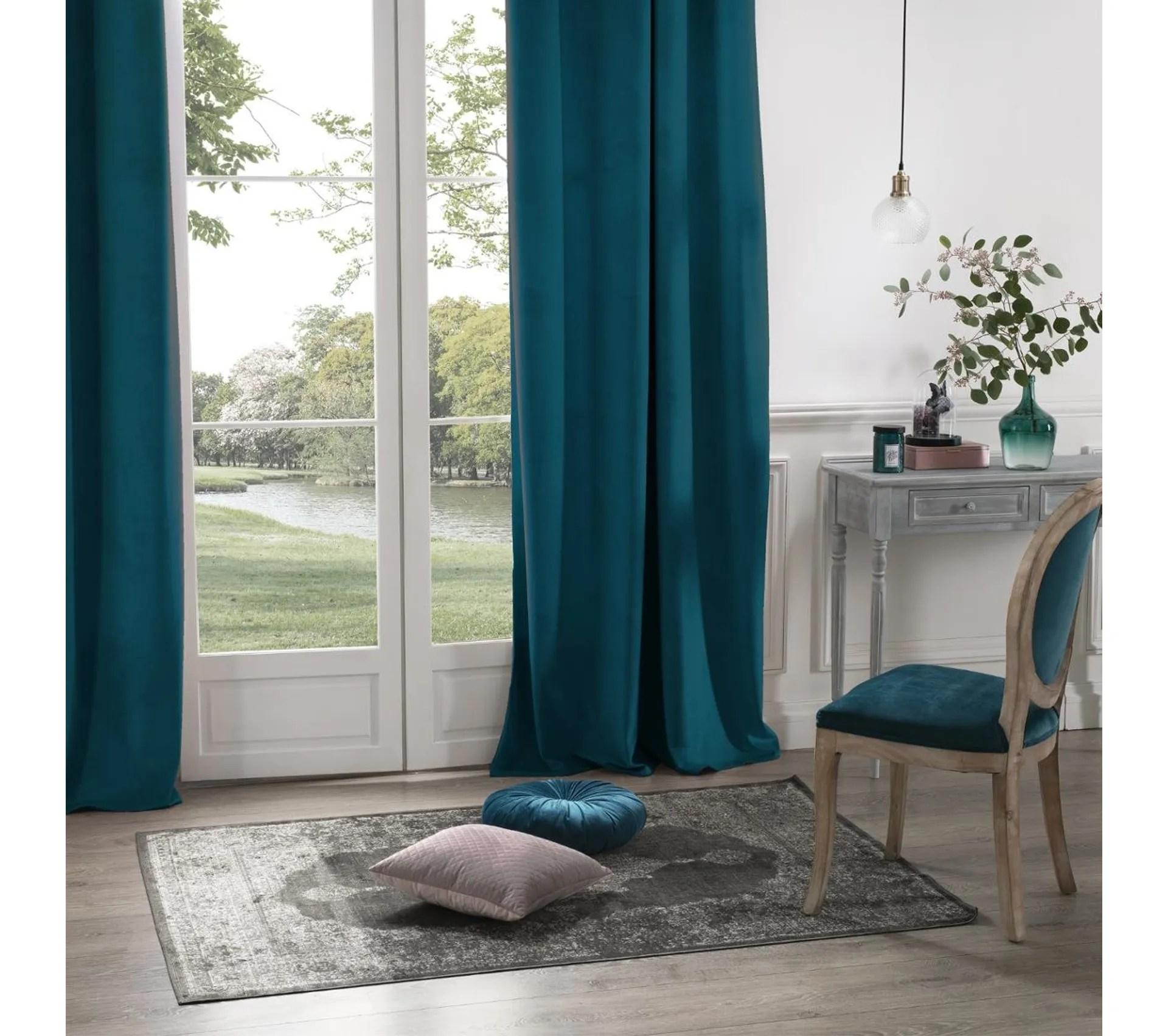 lot de 2 rideaux occultants bleu canard en velours 140 x 260 cm