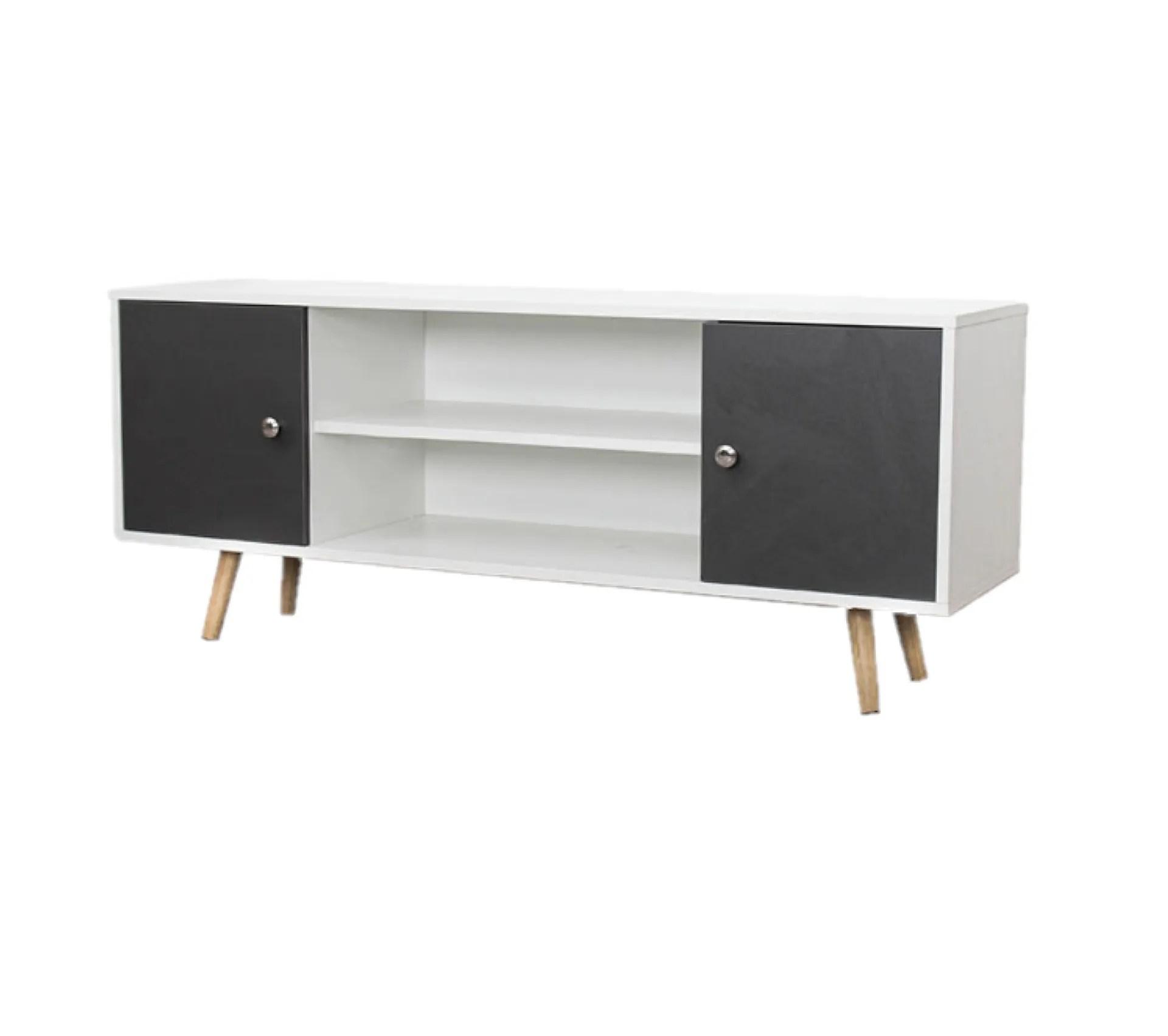meuble tv design samy l 120 x h 50 cm blanc et gris fonce