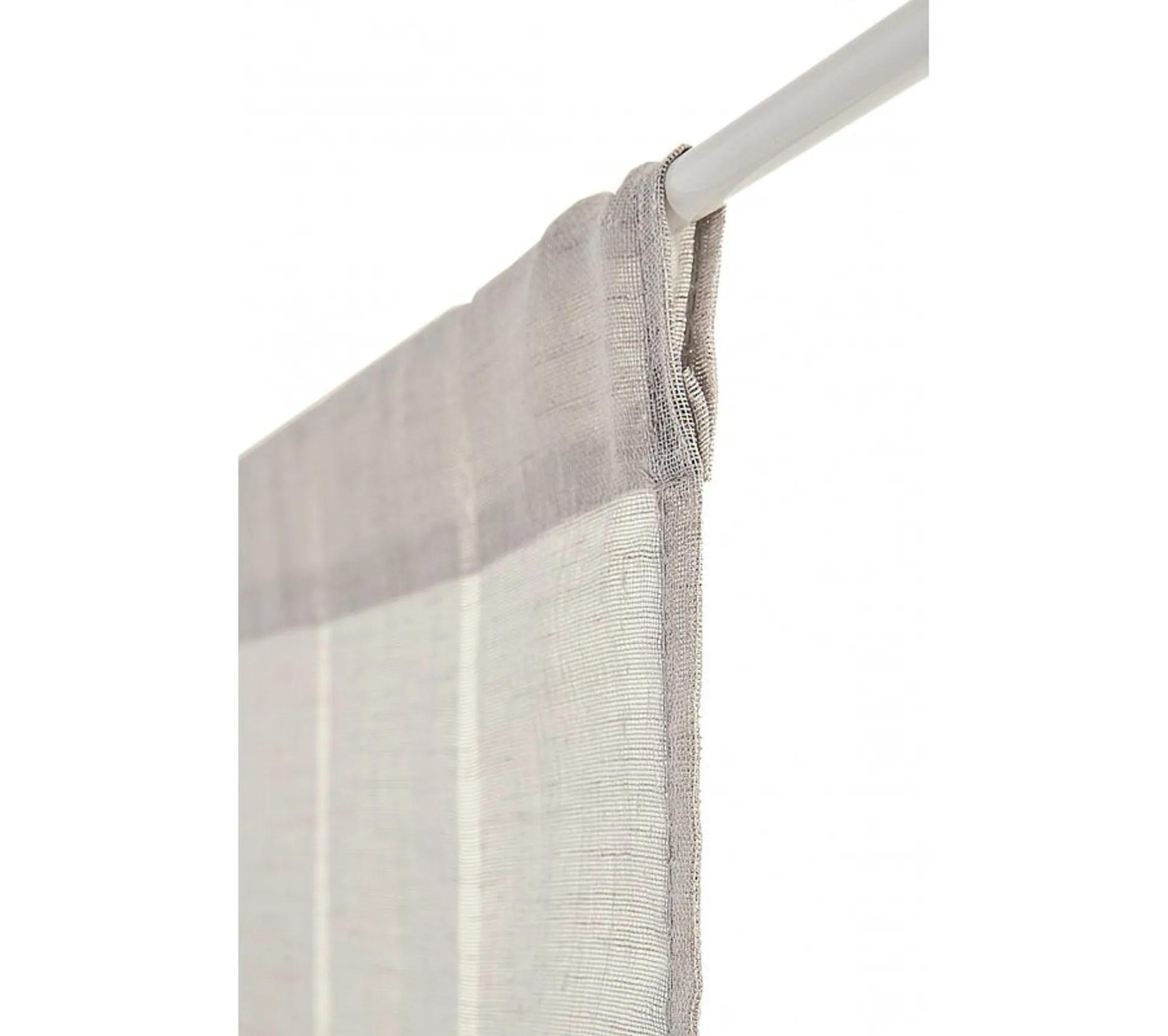voilage vitrage 60 x 240 cm a passe tringle effet gaze de lin a rayures verticales gris