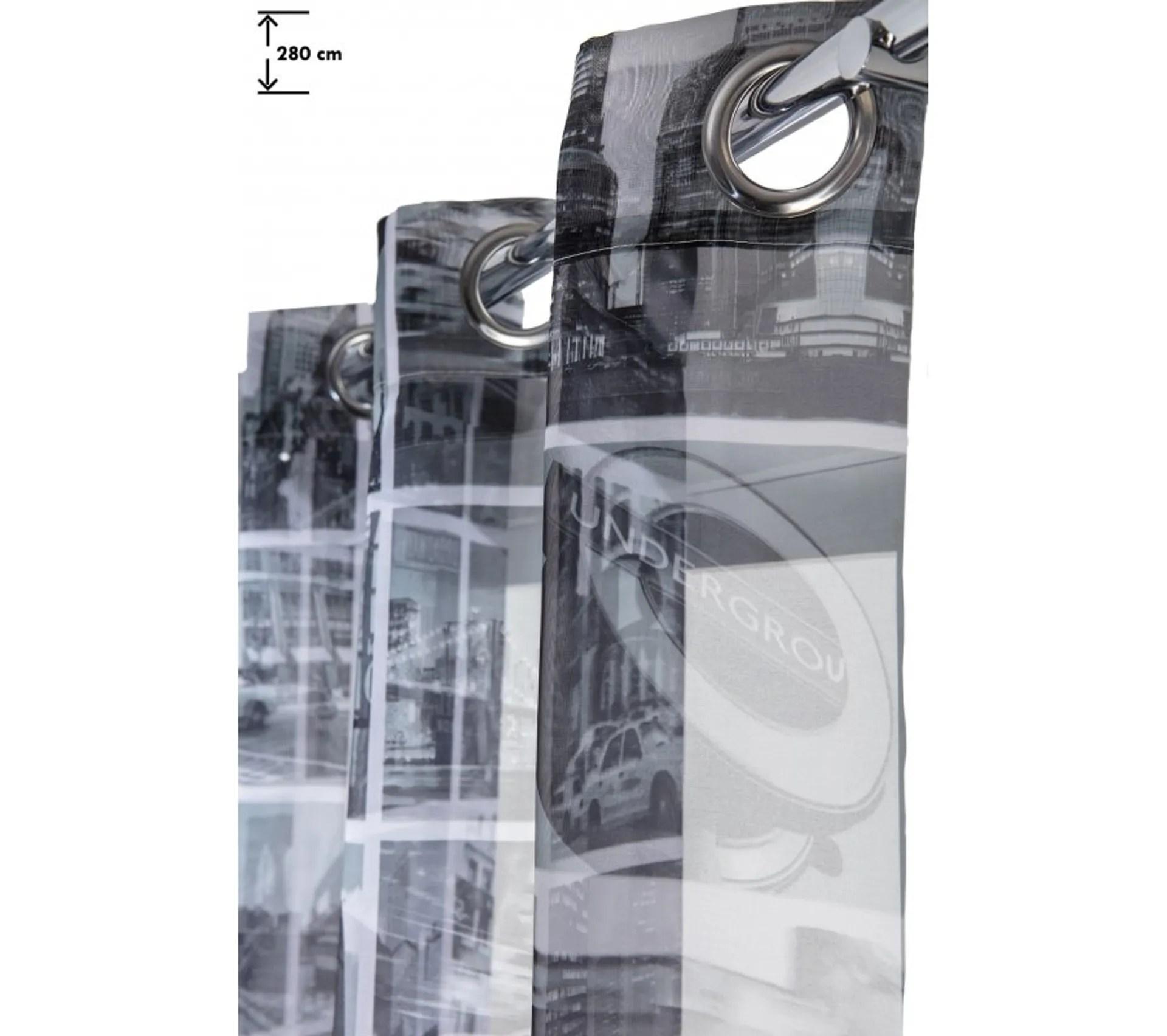 voilage 140 x 280 cm grande hauteur imprime ville de new york noir blanc