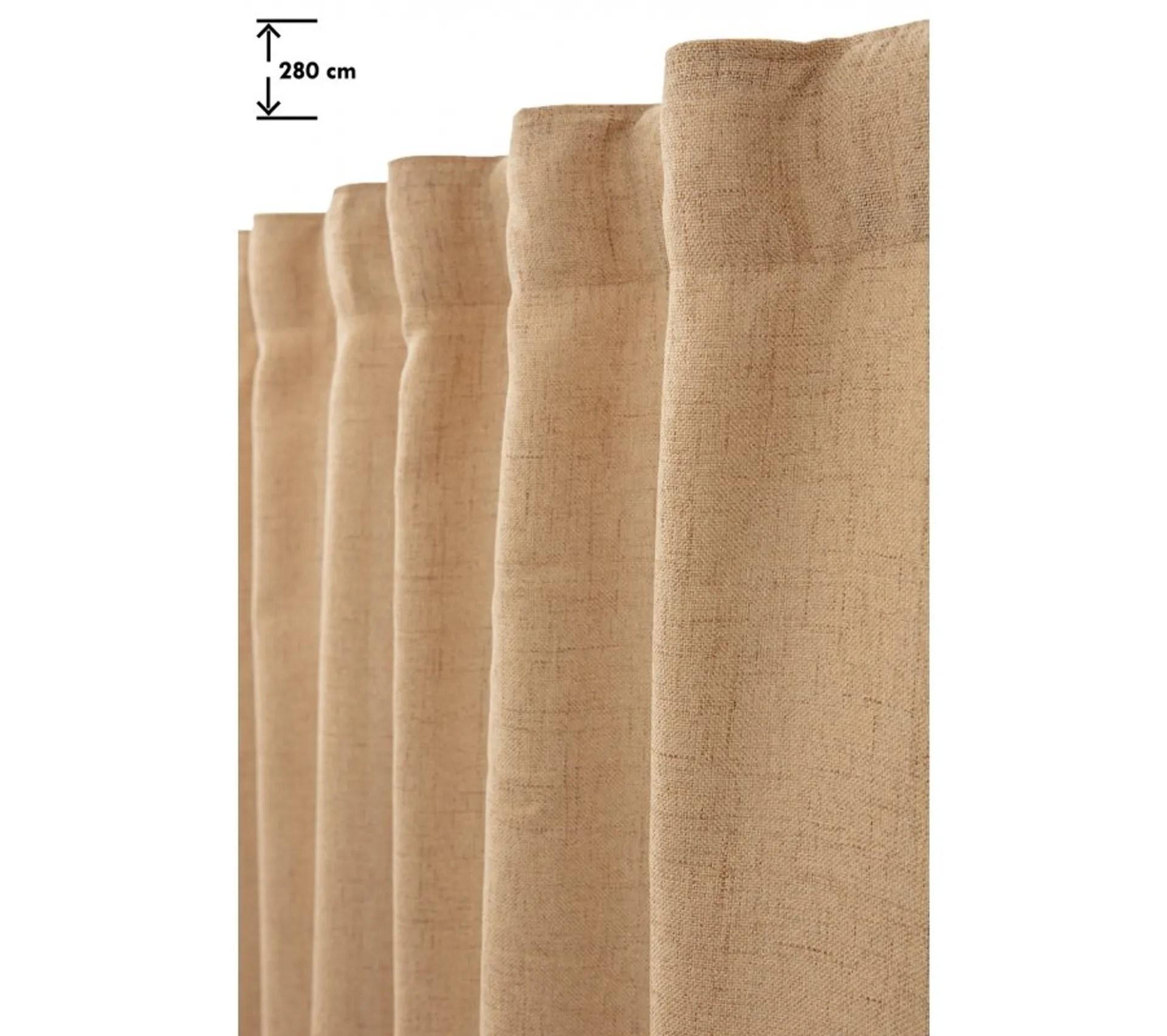 rideau tamisant 135 x 280 cm grande hauteur a galon fronceur pattes cachees chine naturel