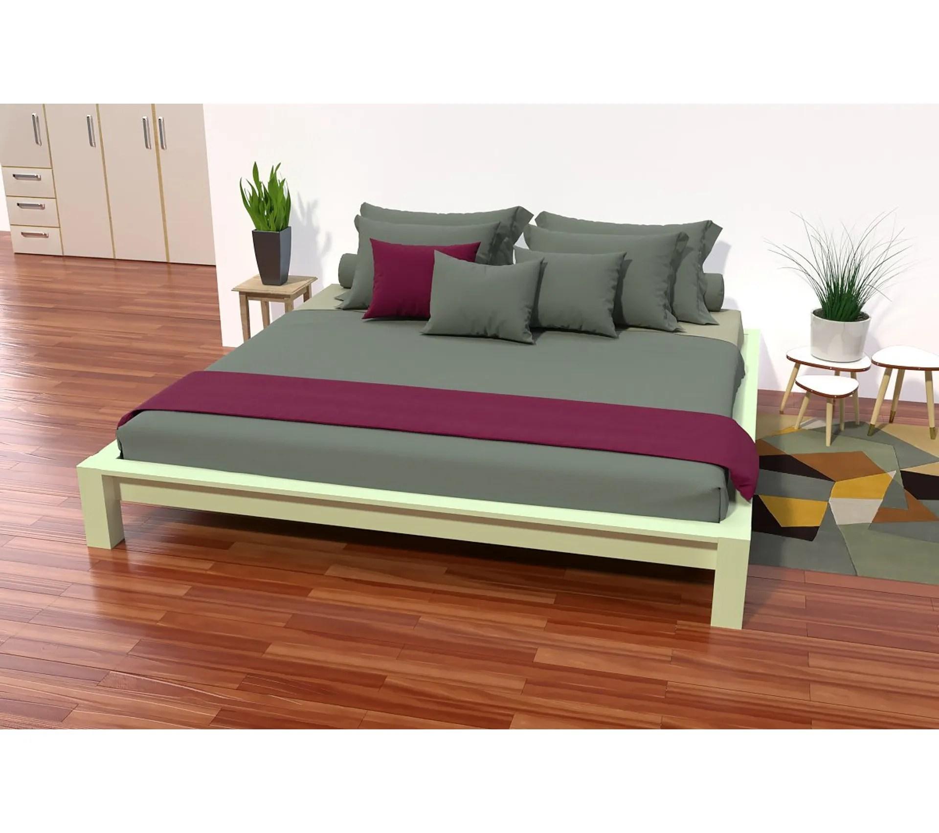 lit king size 200 x 200 cm bois couleur vert pastel dimensions 200x200