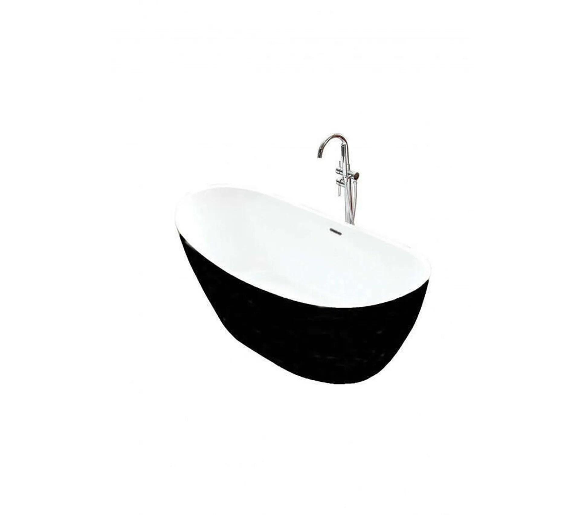 baignoire ilot ovale noir en acrylique 170 cm maya