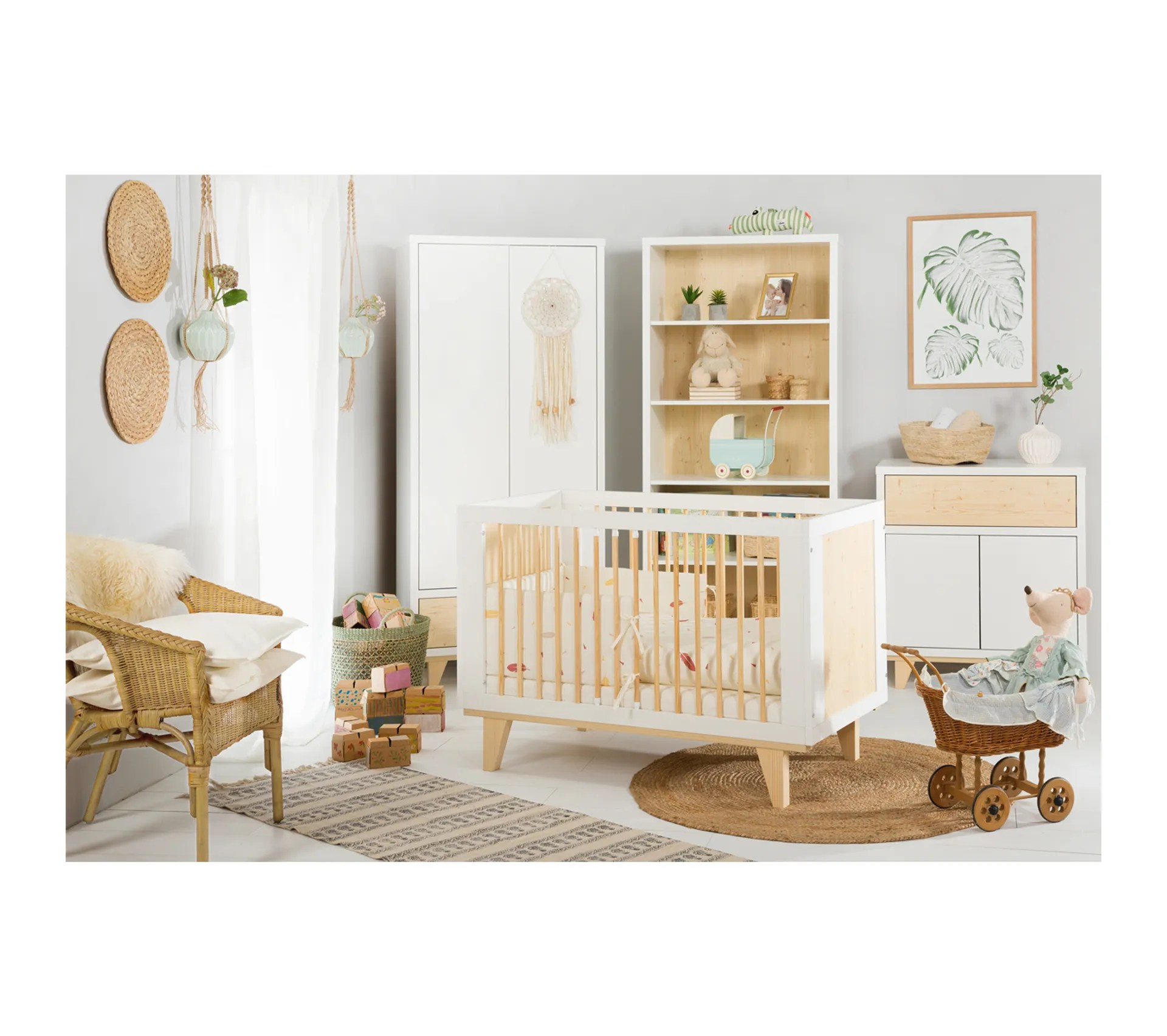 chambre complete lit bebe 60x120 commode armoire 2 portes littlesky by klups lydia blanc