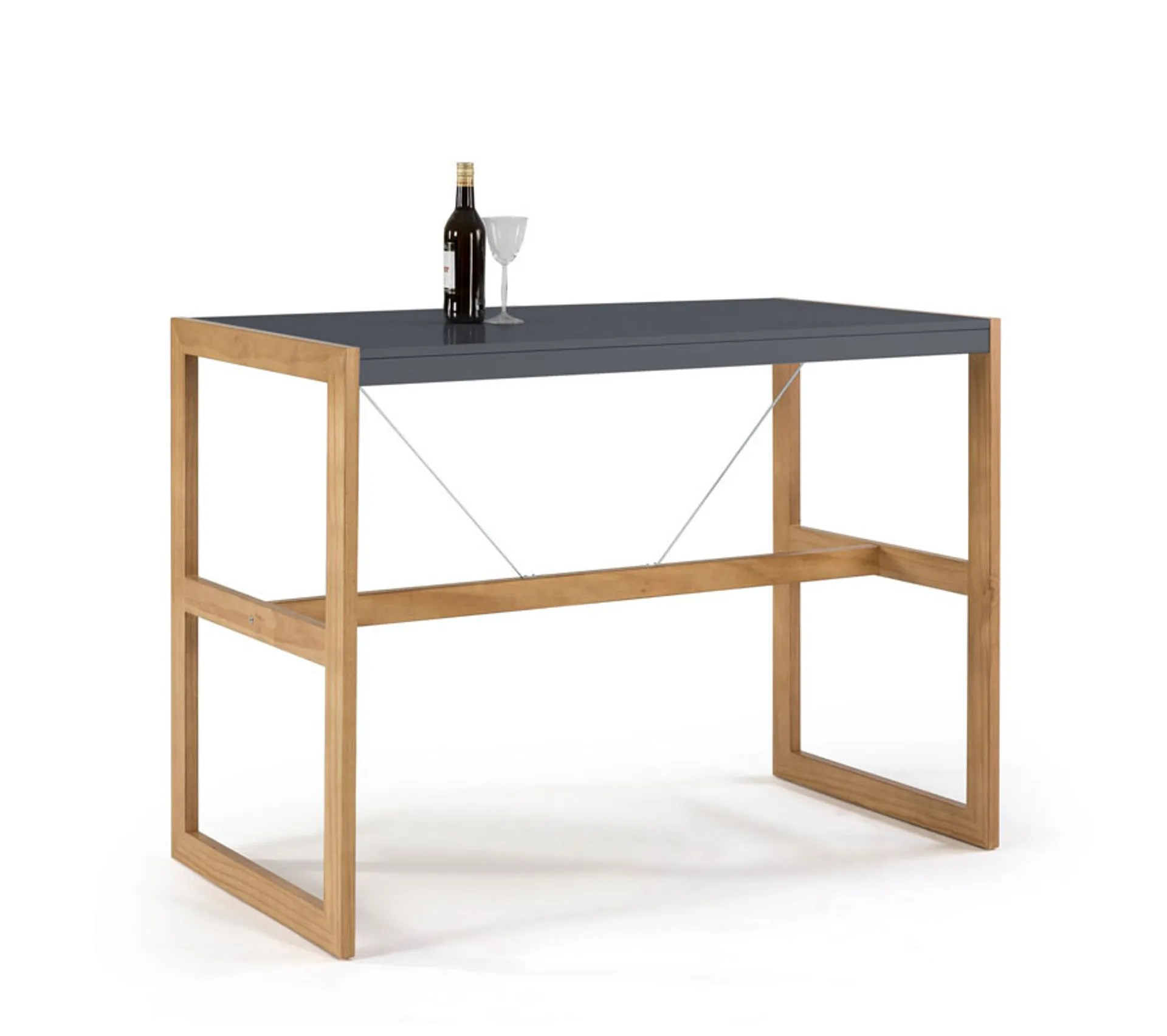 table haute rectangulaire gris chene odile