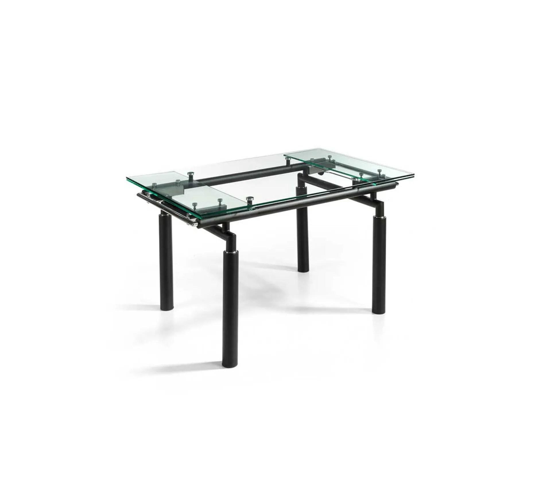 table de repas extensible verre noir mat pokeno