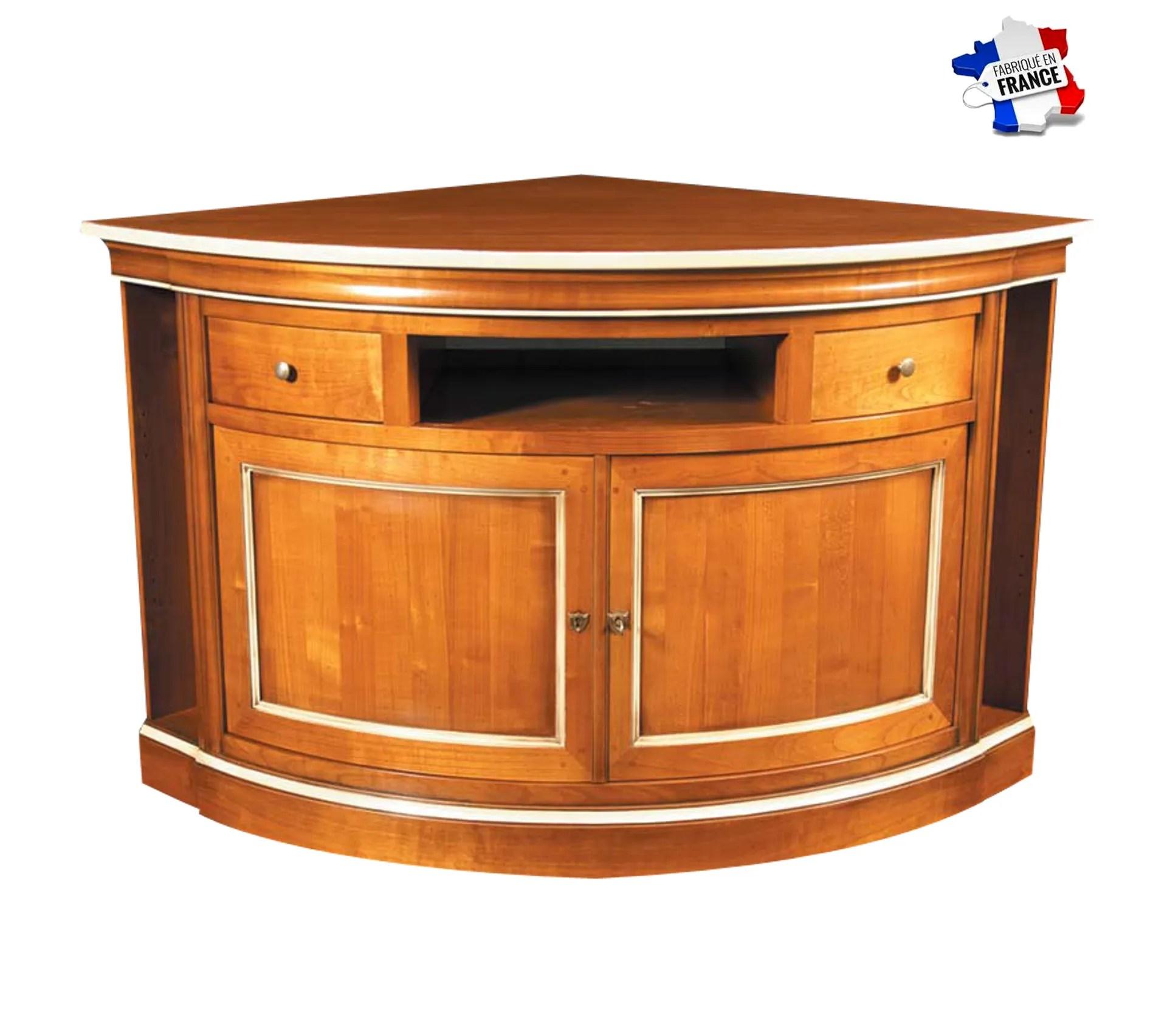 meuble tv dangle avec rangement lateral merisier massif merisier blond et laque blanc creme