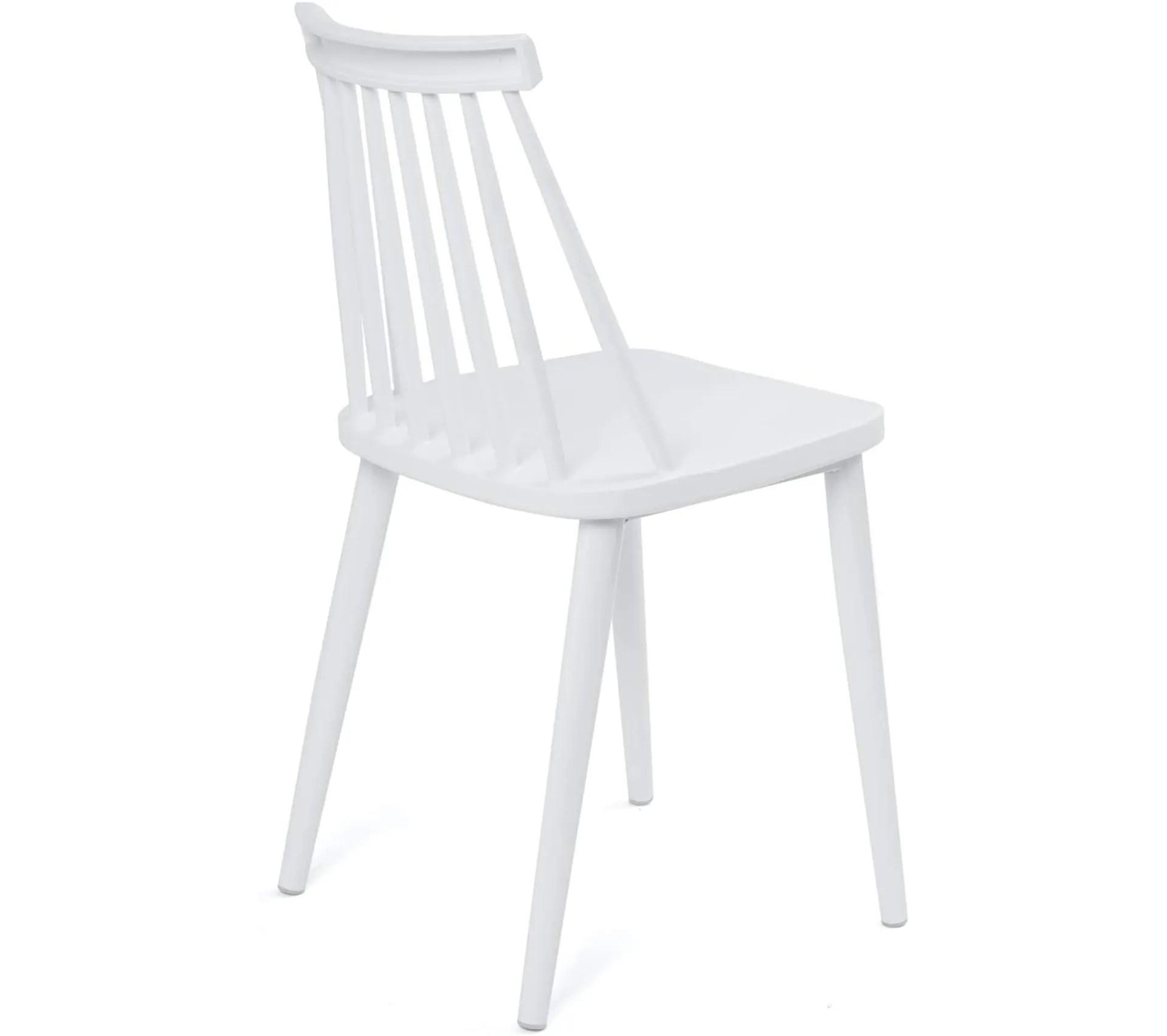 lot de 2 chaises de cuisine bistrot a barreaux bao blanc