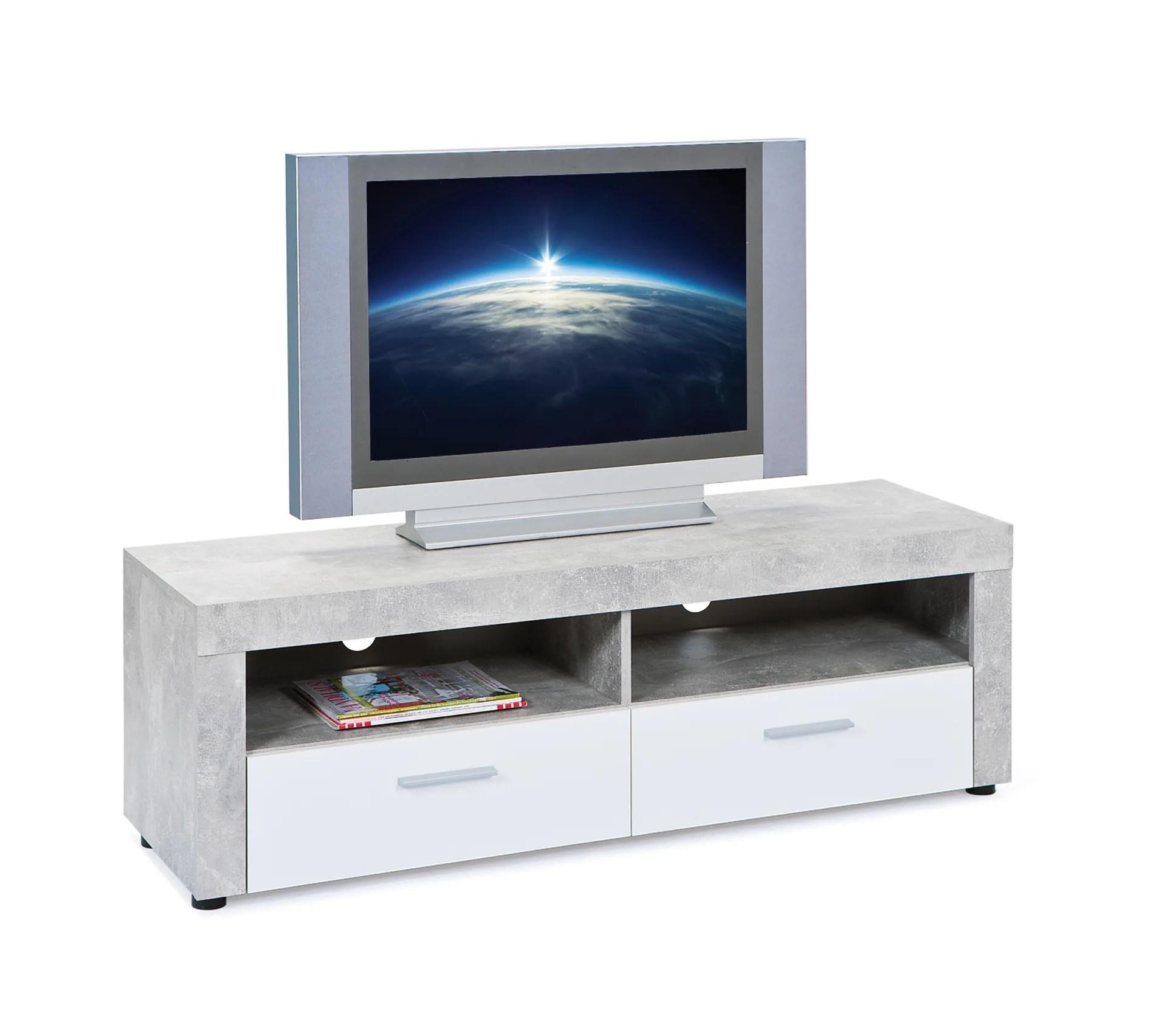 meuble tv beton avec 2 tiroirs bicolore decor beton et blanc
