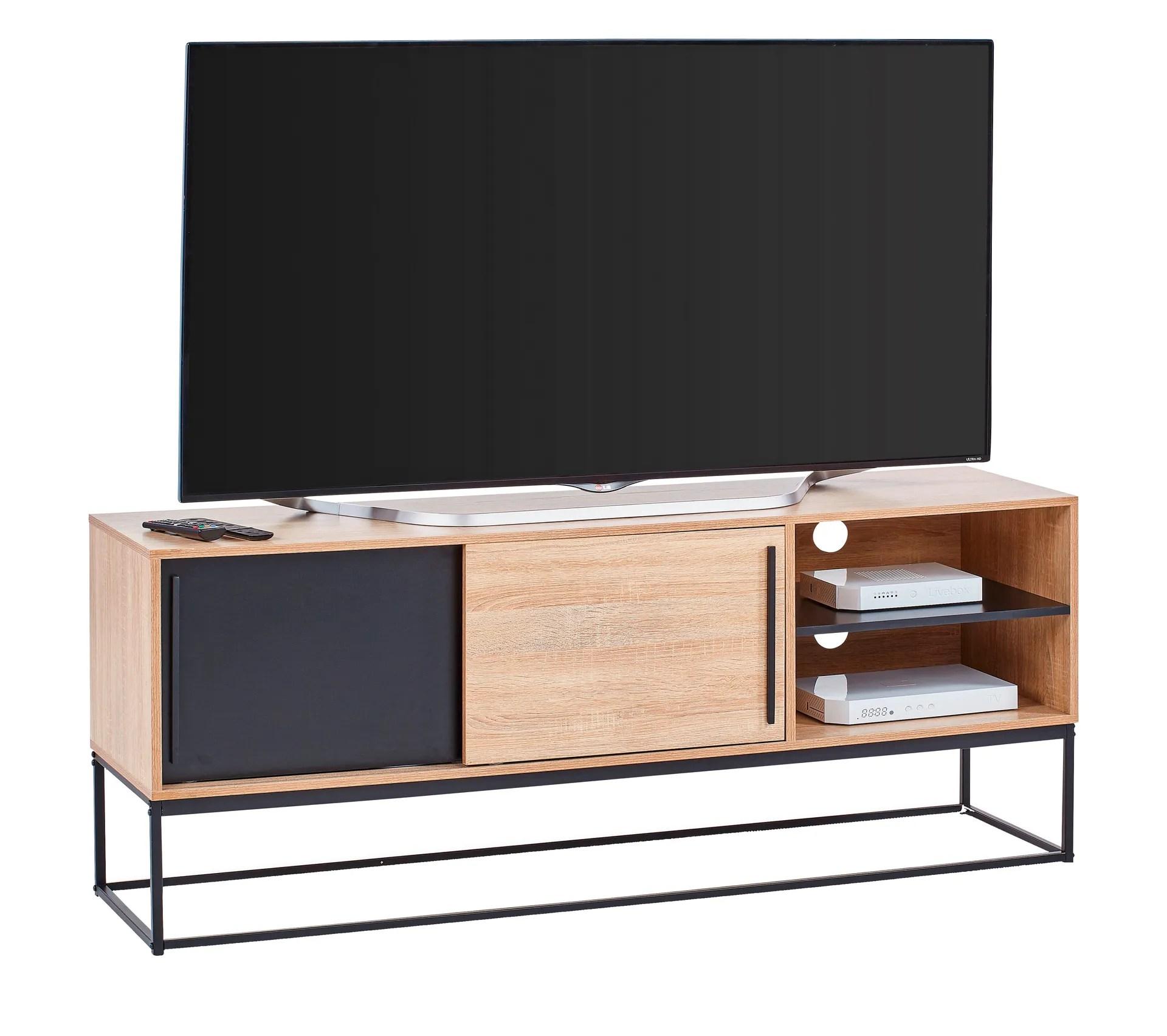 meuble tv industriel vincente noir chene