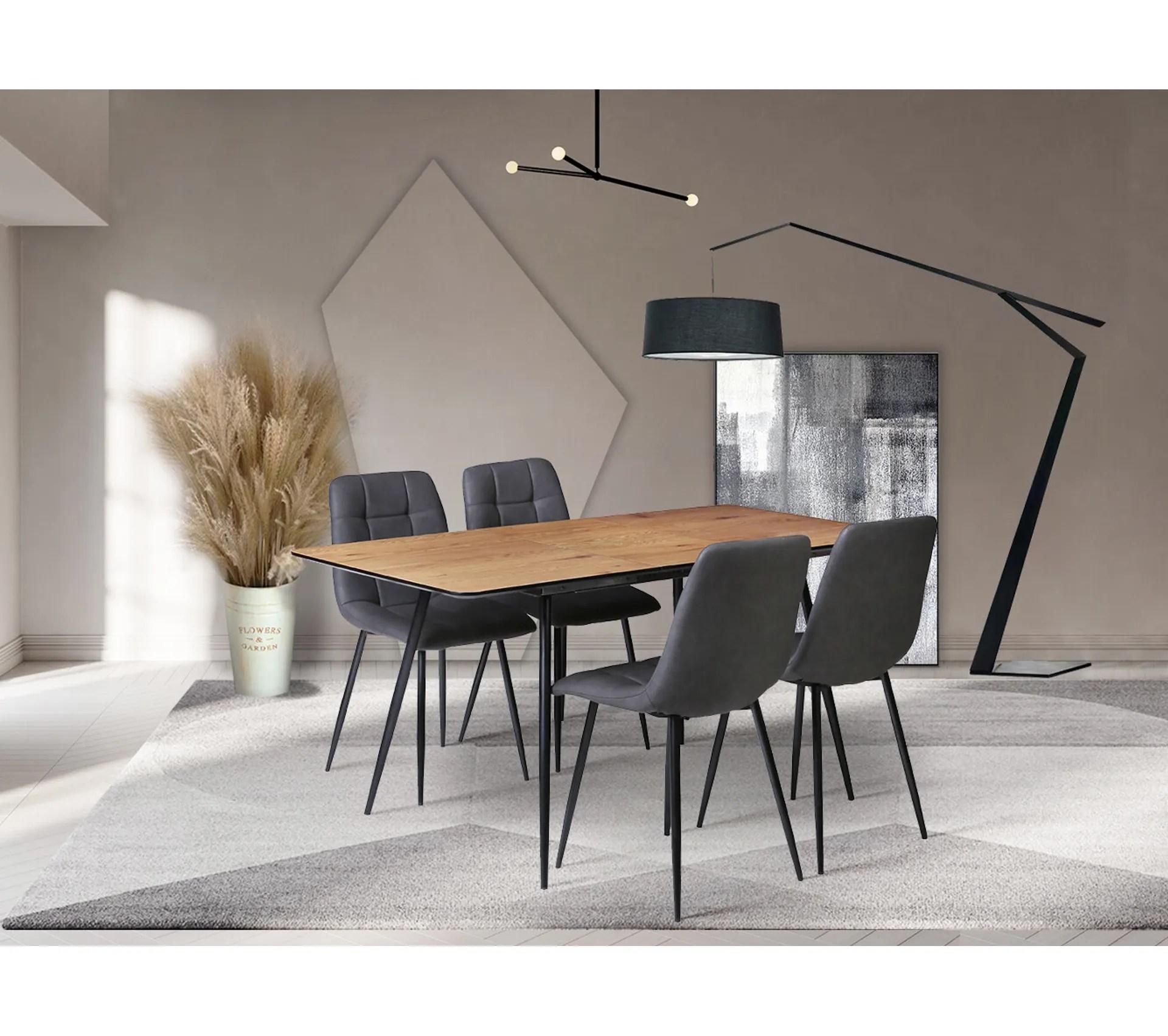 ensemble table 4 chaises seoul imitation chene et noir