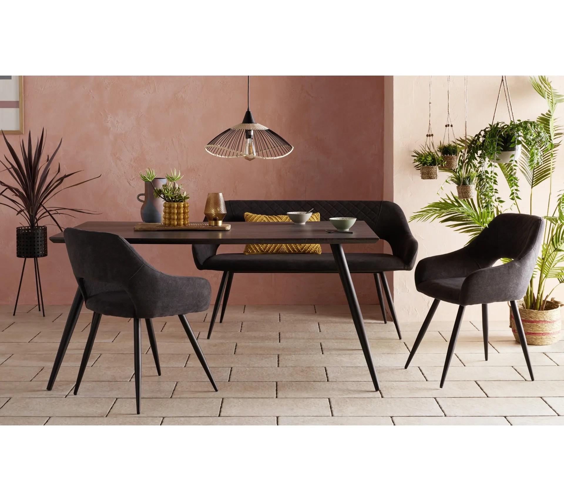coin repas table chaises banc allyson gris noir