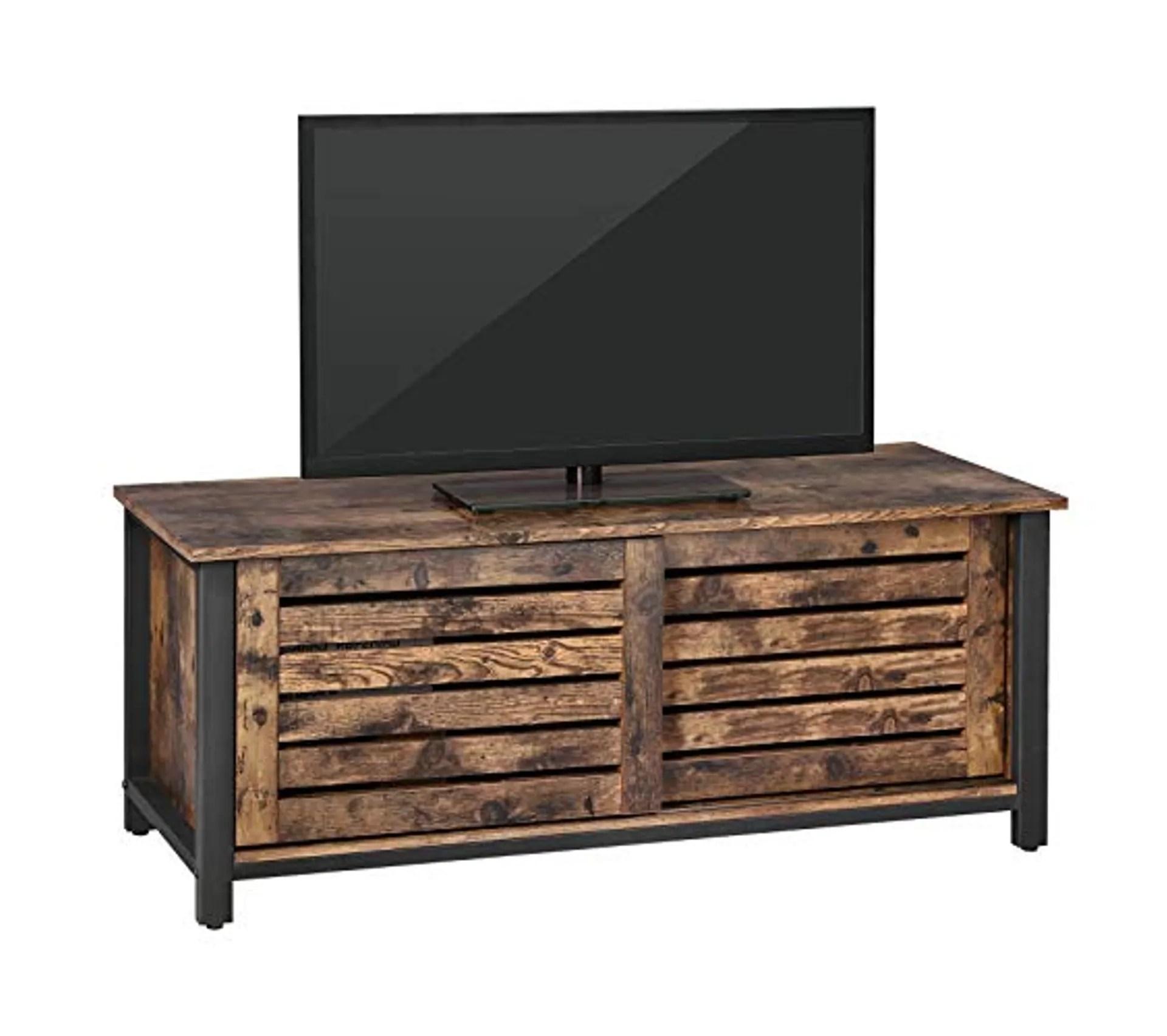 meuble tv pour televisons jusqu a 48 pouces avec portes coulissantes et 2 etageres